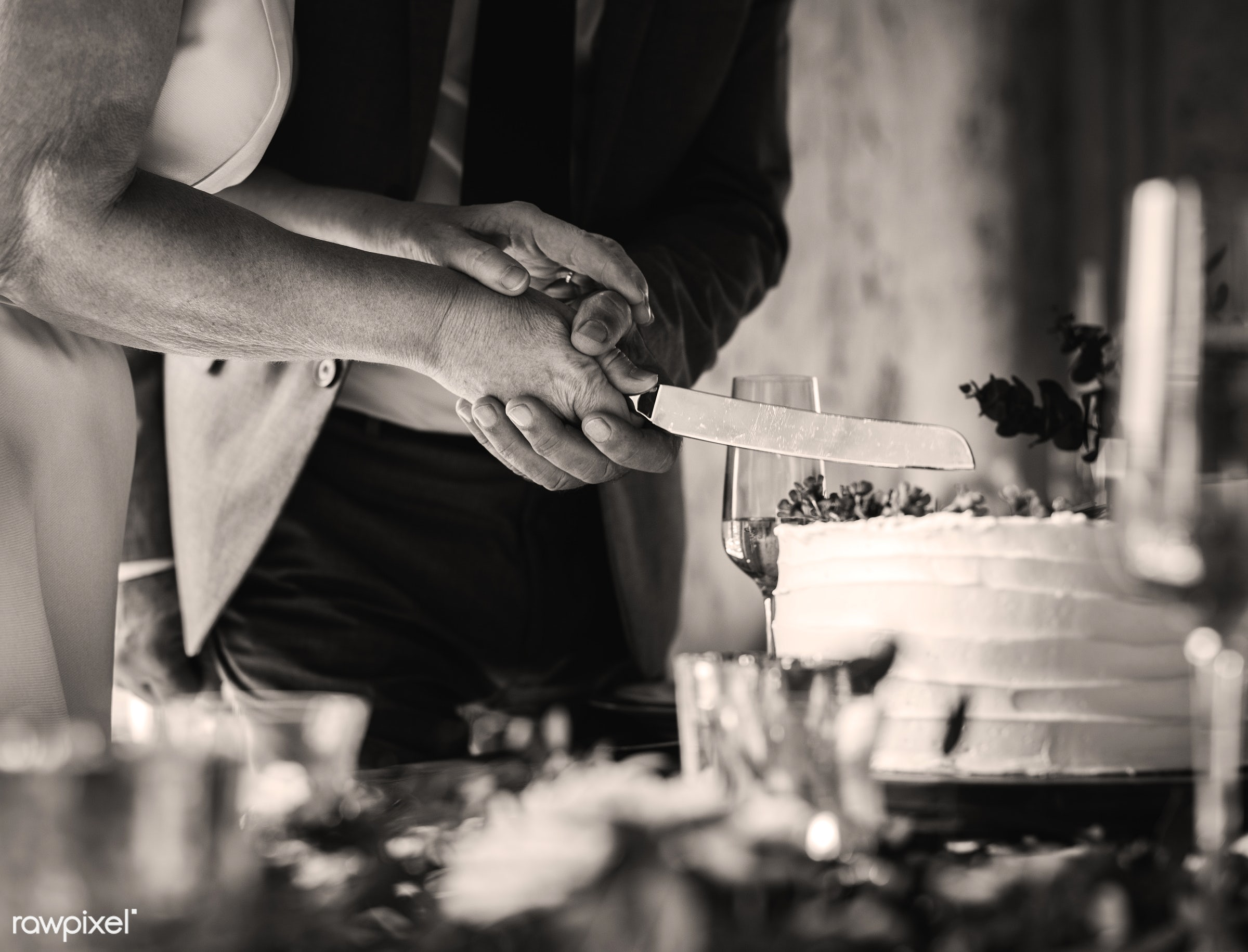 bride, cake, celebrate, celebration, ceremony, closeup, congrats, congratulations, couple, cut, dessert, diversity, elegance...