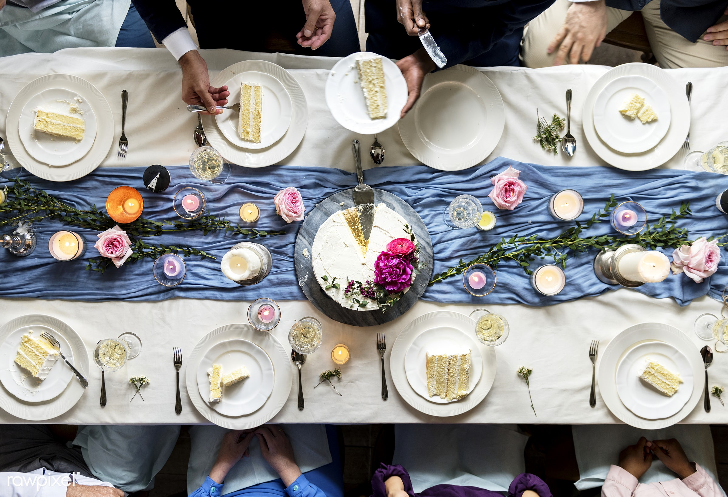 aerial view, cake, celebration, diversity, eat, event, flat lay, friends, gather, group, guests, hands, occasion, people,...