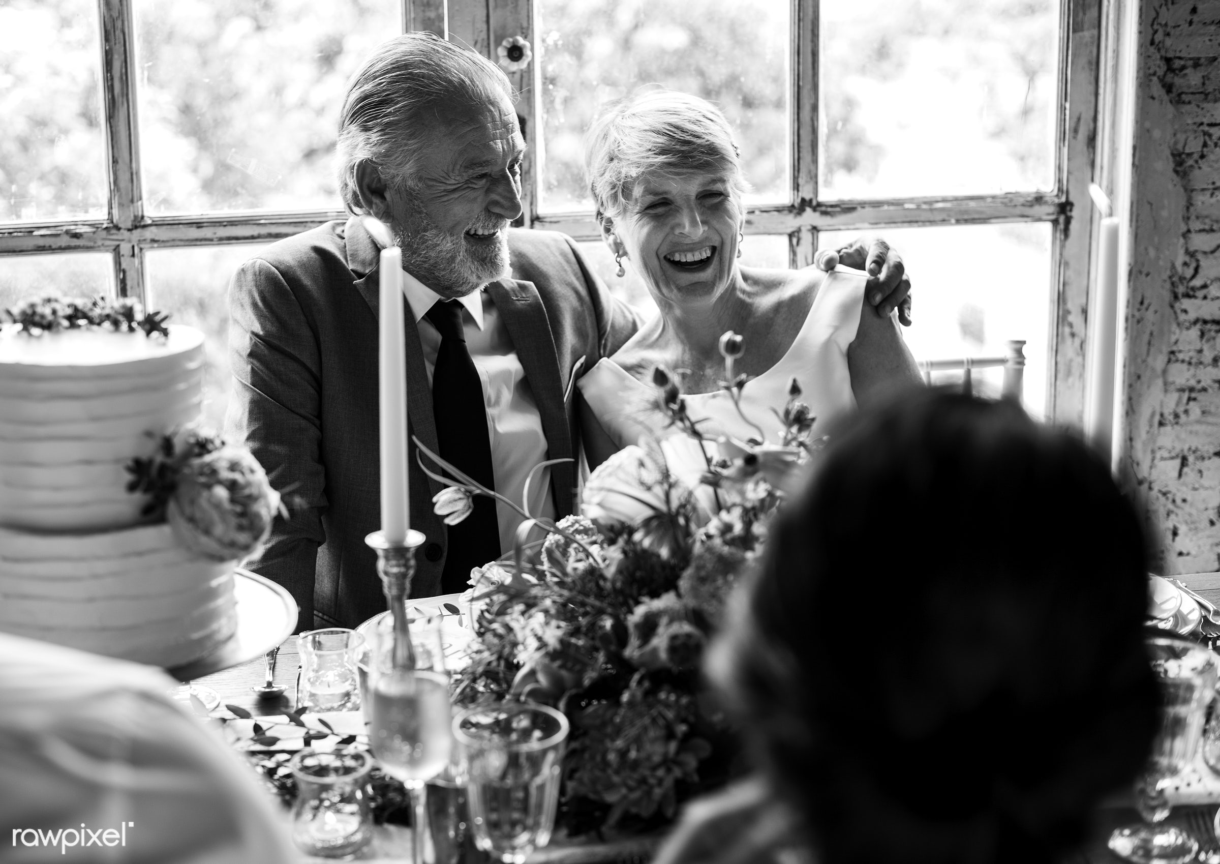 occasion, people, together, caucasian, love, friends, event, gathering, flowers, cheerful, senior couple, anniversary, table...