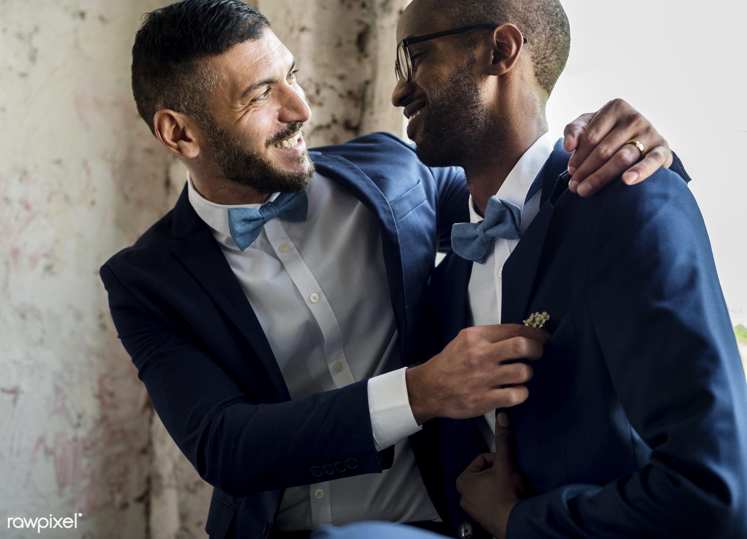 gay couple, african descent, occasion, ceremony, together, lgbt, caucasian, love, two, wedding, banquet, men, celebration