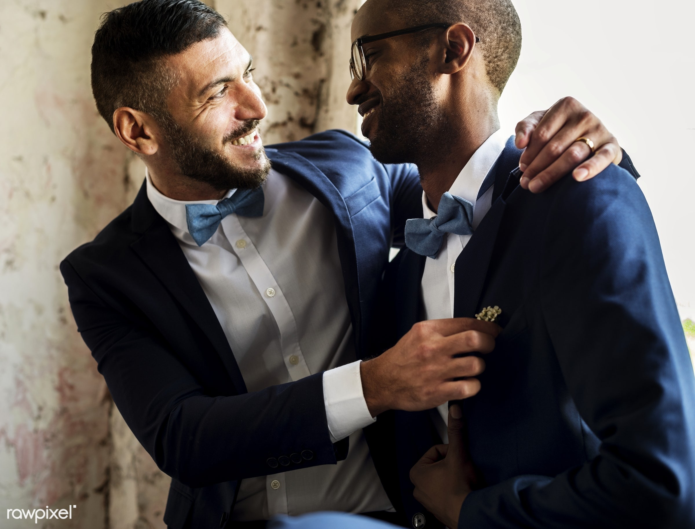 person, holding, occasion, love, married, friends, hands, suits, couple, men, cheerful, smiling, diversity, wearing,...