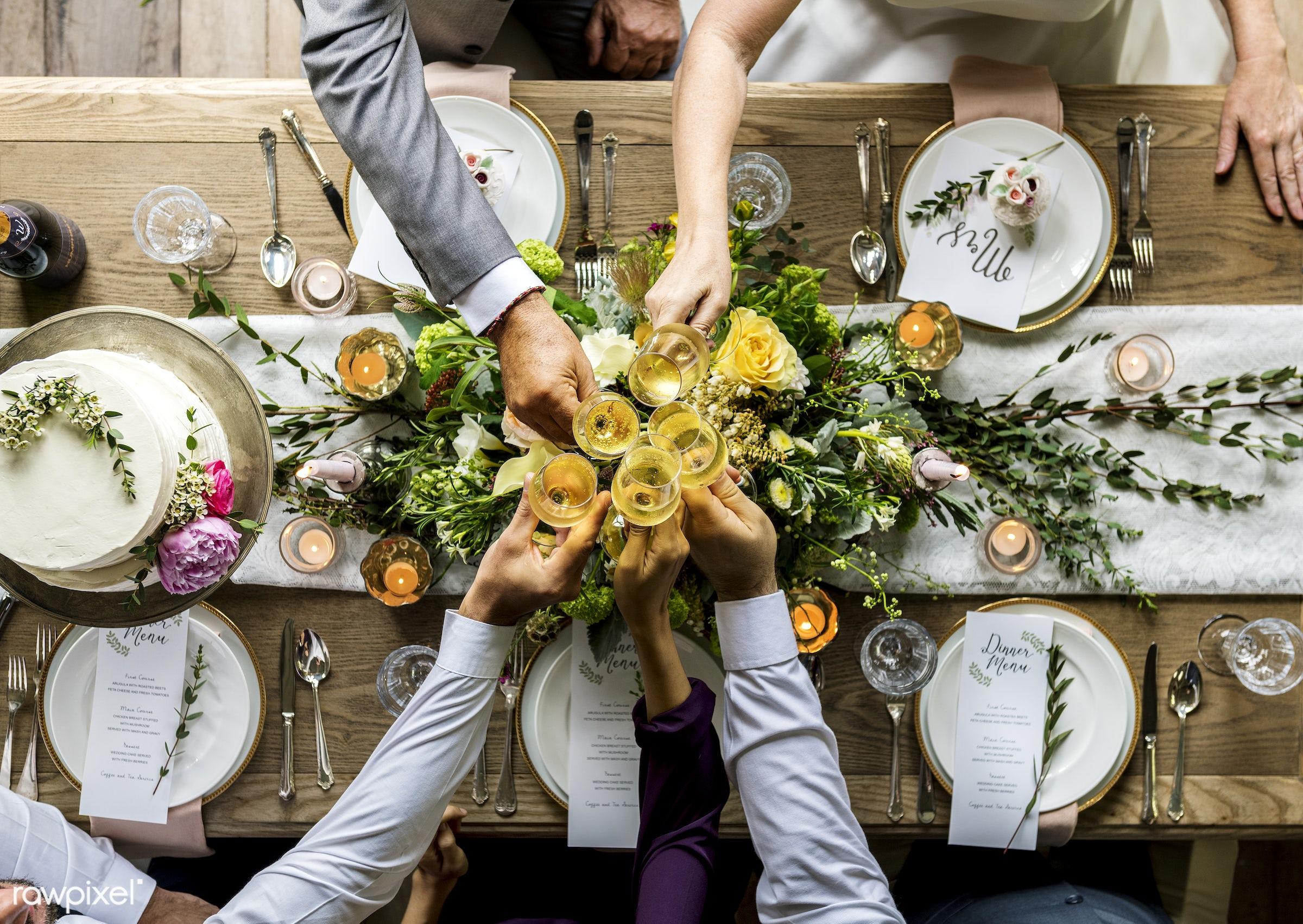 aerial view, arrangement, celebration, diversity, eat, event, flat lay, flatlay, flowers, friends, gather, glasses, group,...