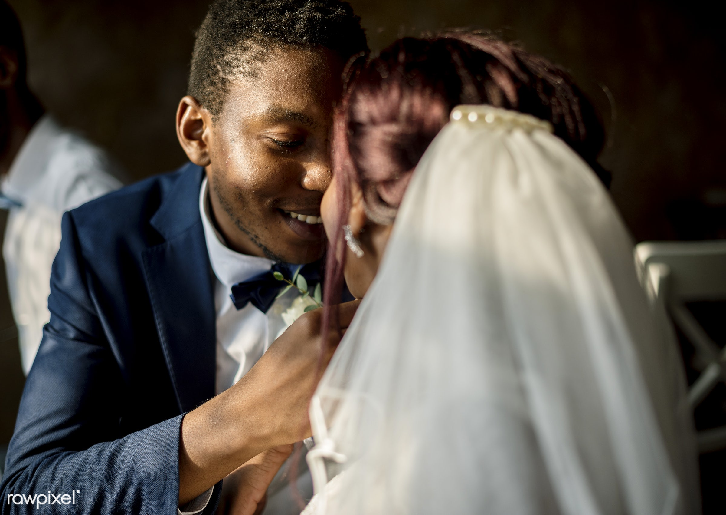 occasion, veil, people, love, married, spouse, bride, cheerful, black, kissing, african descent, newlywed, togetherness,...