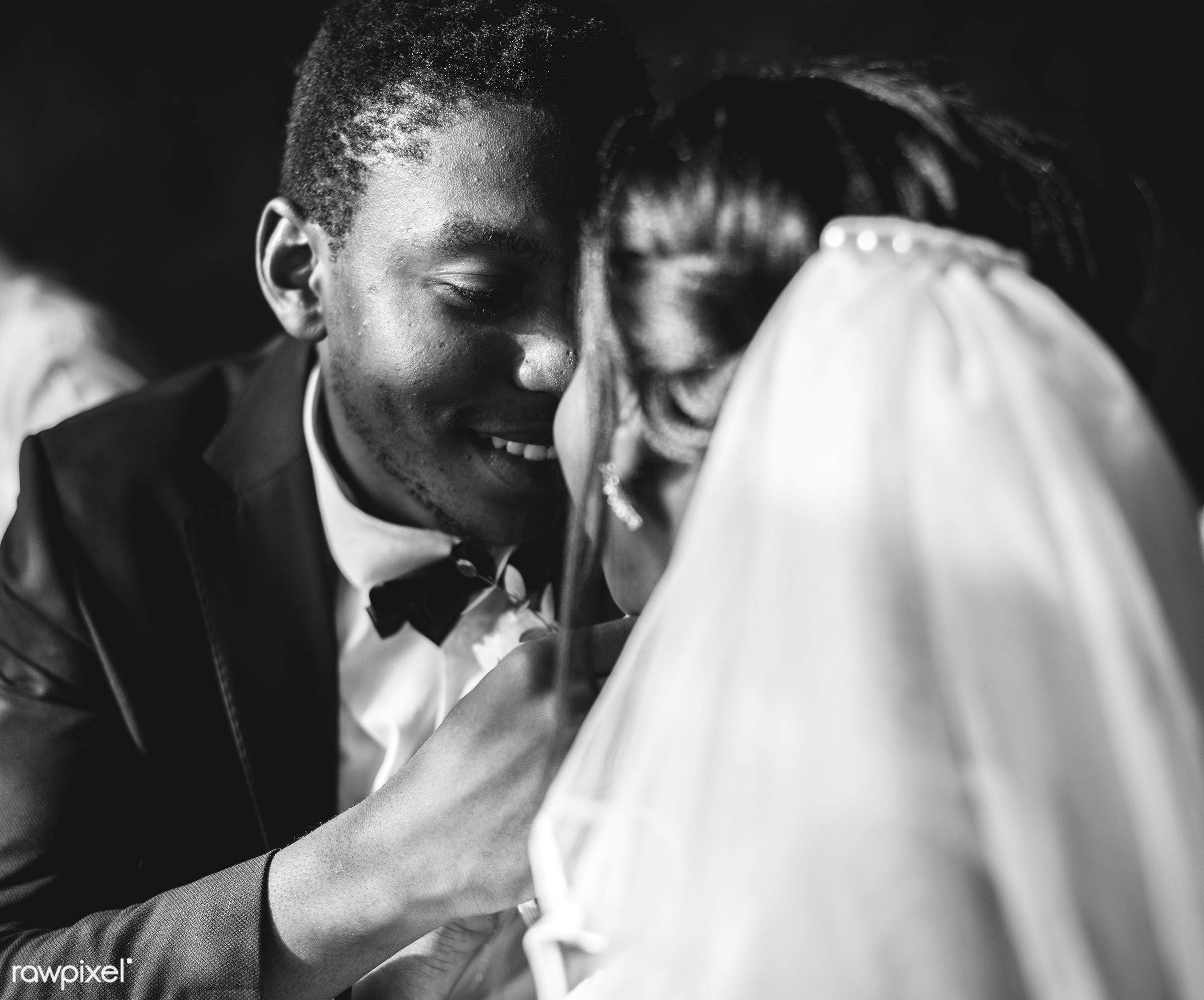 wedding, bride, african descent, black, celebration, ceremony, cheerful, fiance, grayscale, groom, husband, kissing, love,...