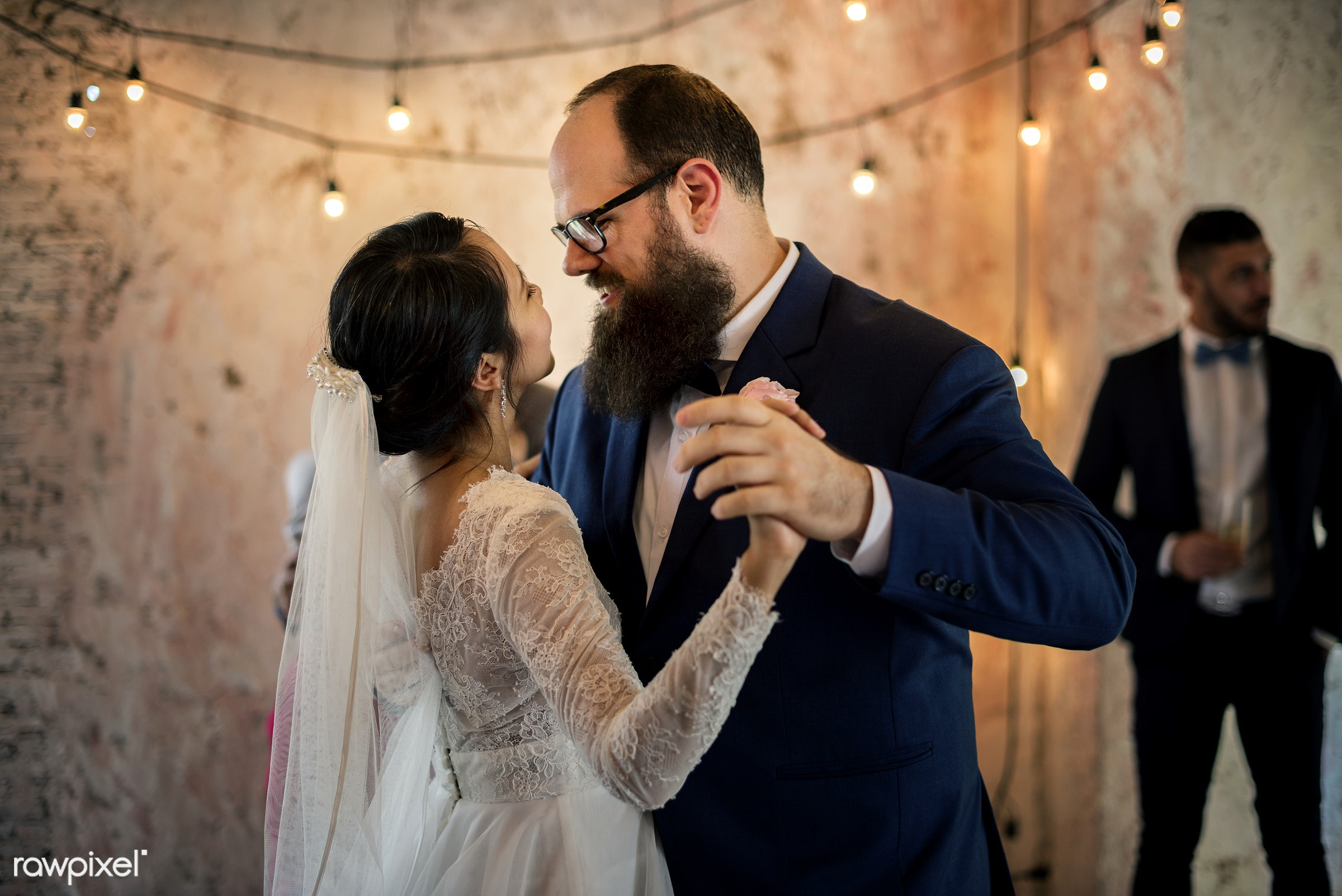 Bridge and groom wedding day - asian, banquet, beard, bride, caucasian, celebration, cheerful, dance, groom, hands,...