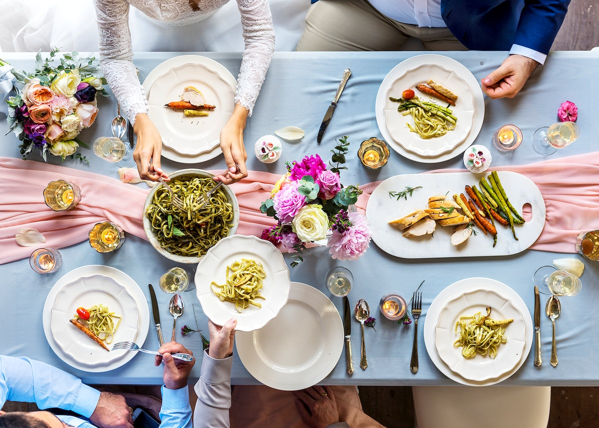 Aerial view of a bridal party dining table
