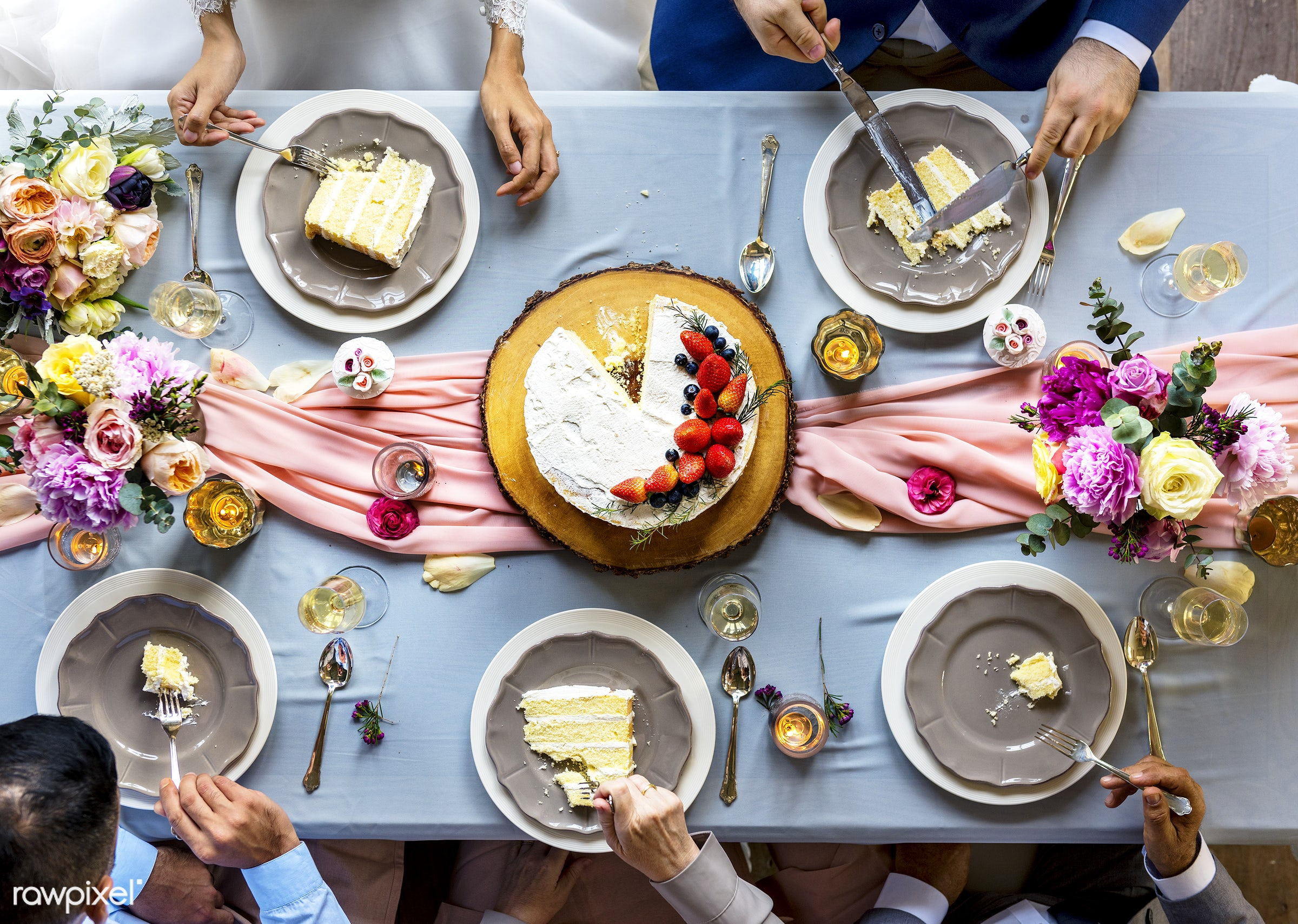 Aerial view of a bridal party dining table - event, cake, sweet, dessert, aerial view, celebration, dining, eating, flowers...