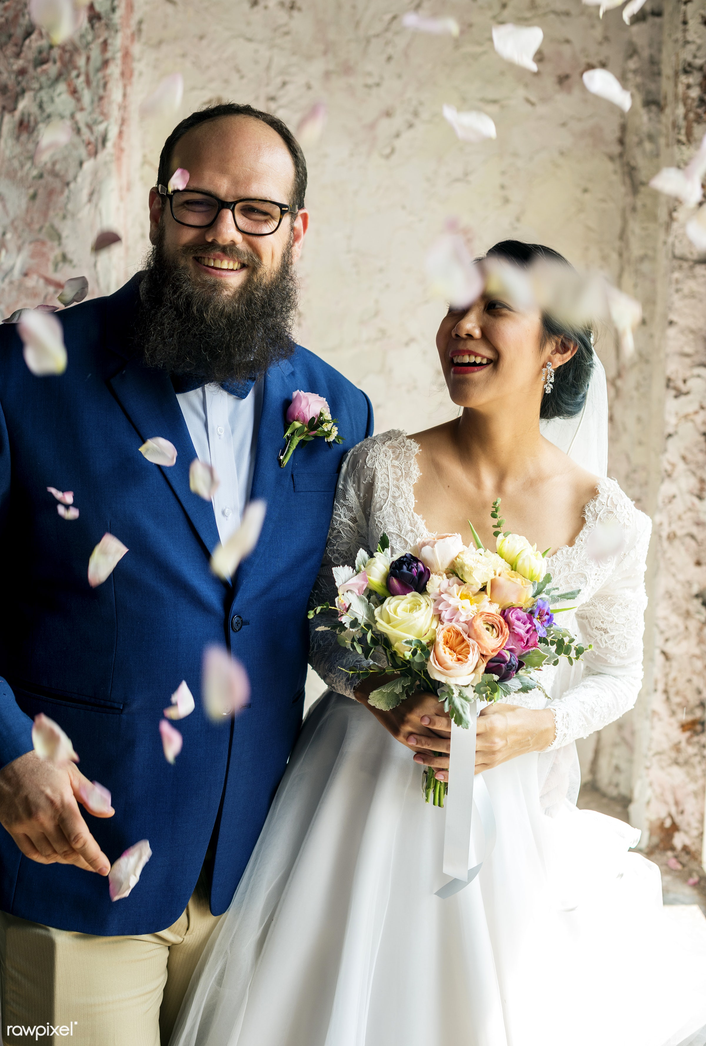 petals, diverse, occasion, throwing, asian, caucasian, love, married, spouse, couple, bride, flowers, cheerful, smiling,...