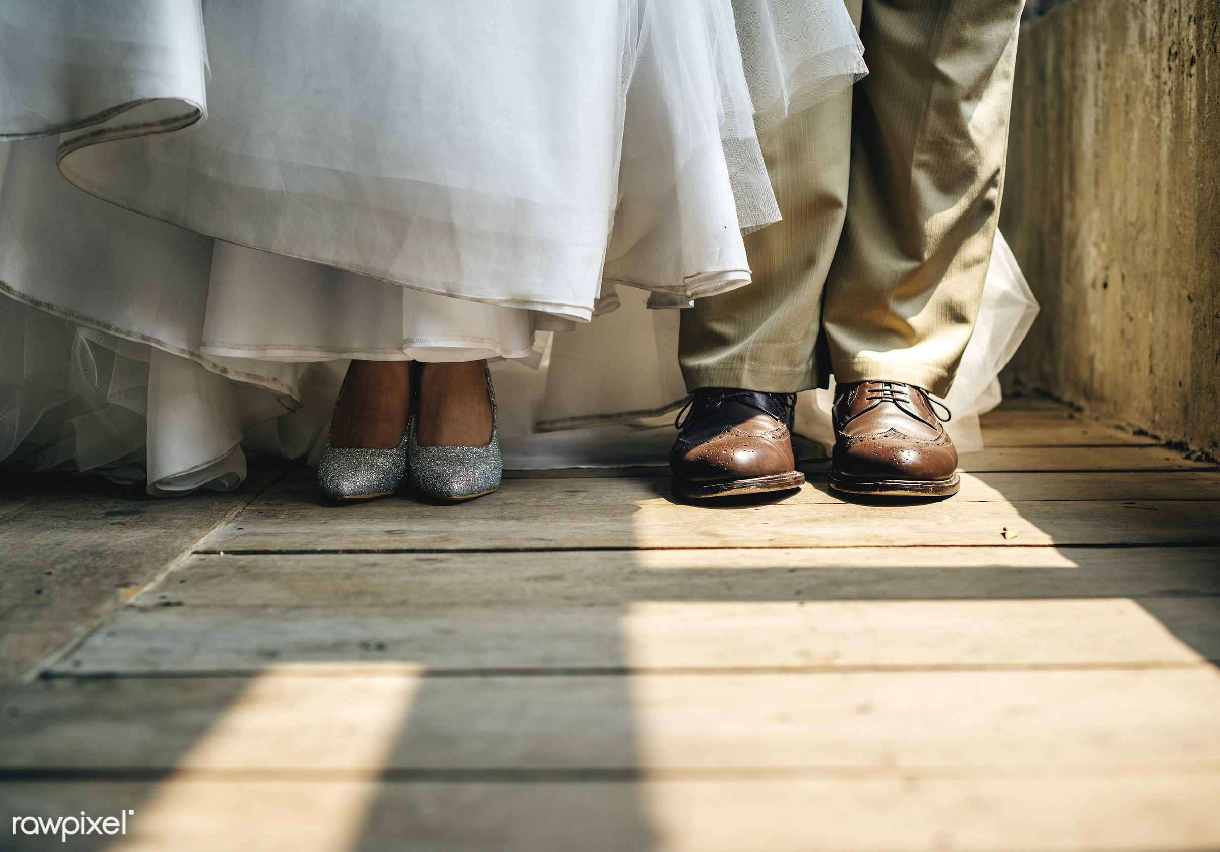 person, wooden floor, occasion, wedding dress, together, married, couple, bride, closeup, shoes, preparation, newlywed,...