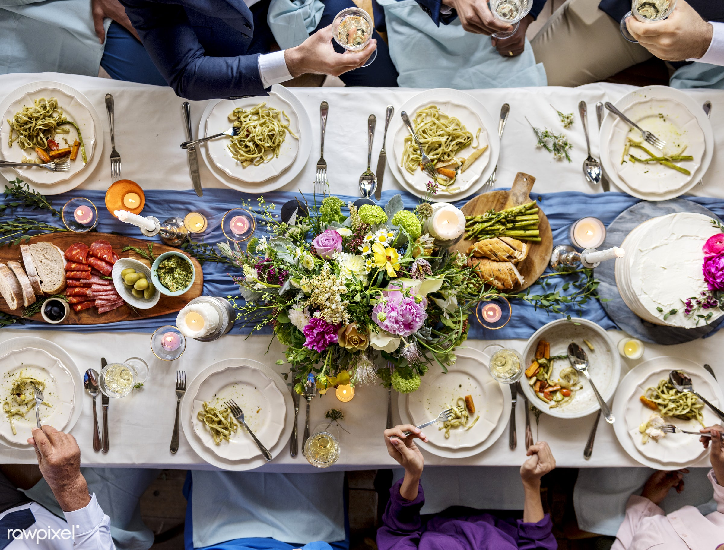 Aerial view of wedding reception table at dinner - aerial view, celebration, dining, dinner, eating, event, flowers, food,...