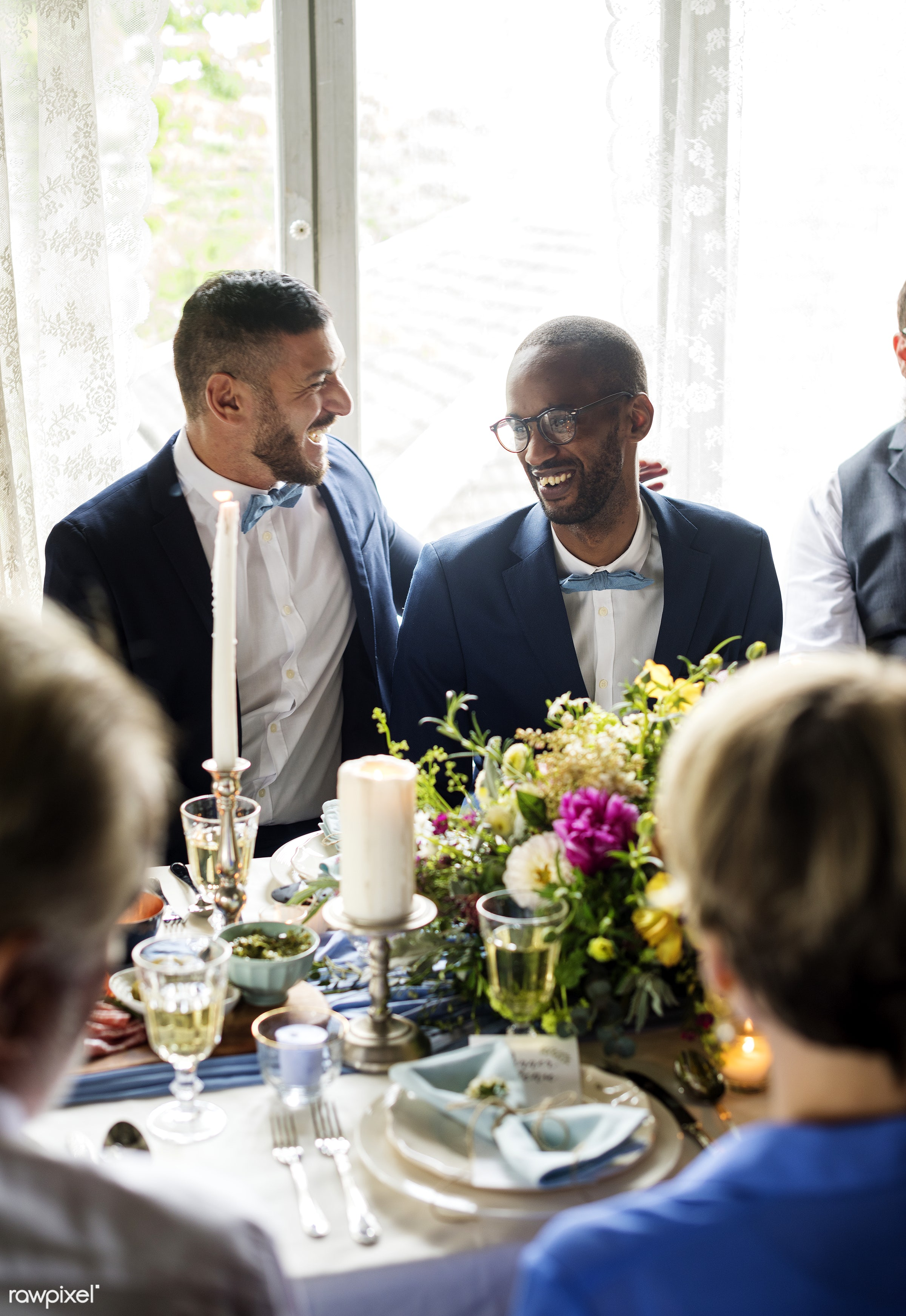 person, occasion, together, love, married, suits, couple, men, cheerful, smiling, diversity, gay couple, wearing, happiness...