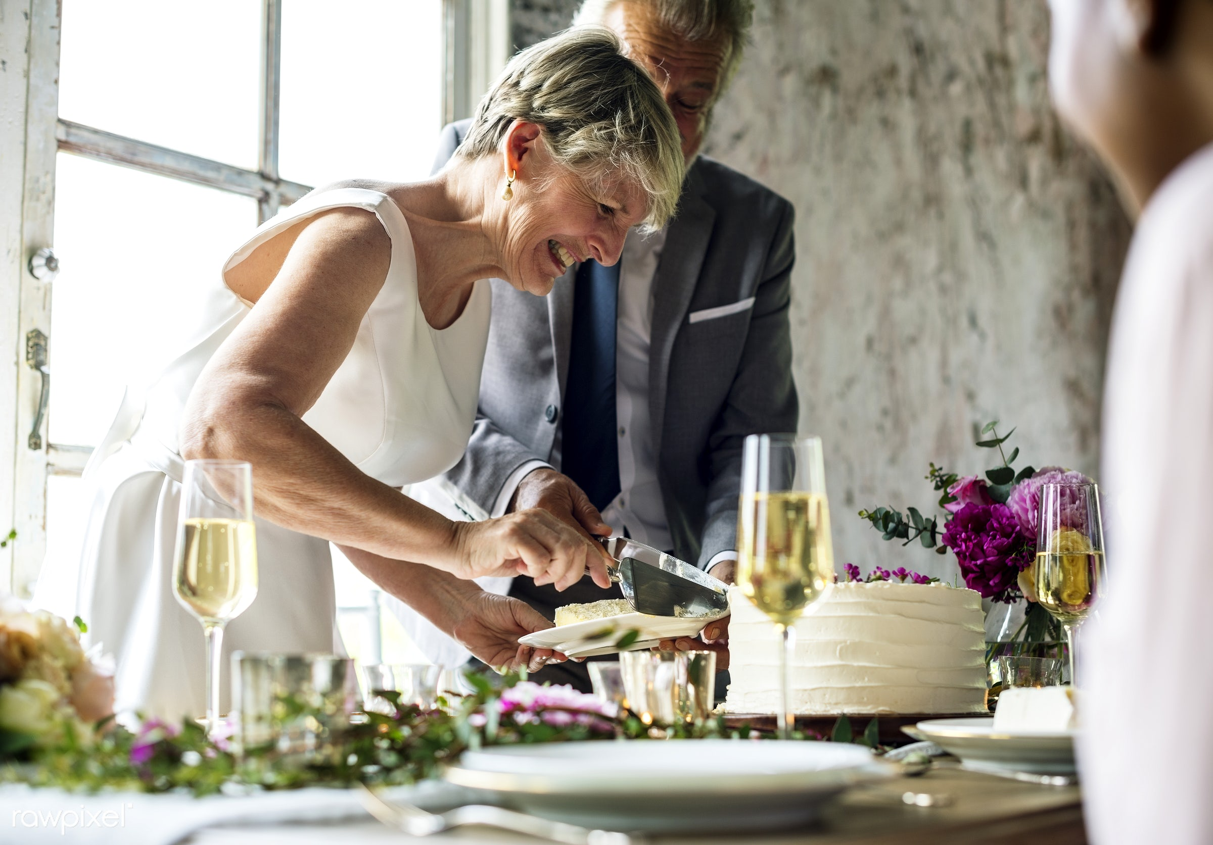Bridge and groom wedding day - bride, cake, celebration, couple, dessert, dining, eating, elderly, even, food, groom, love,...