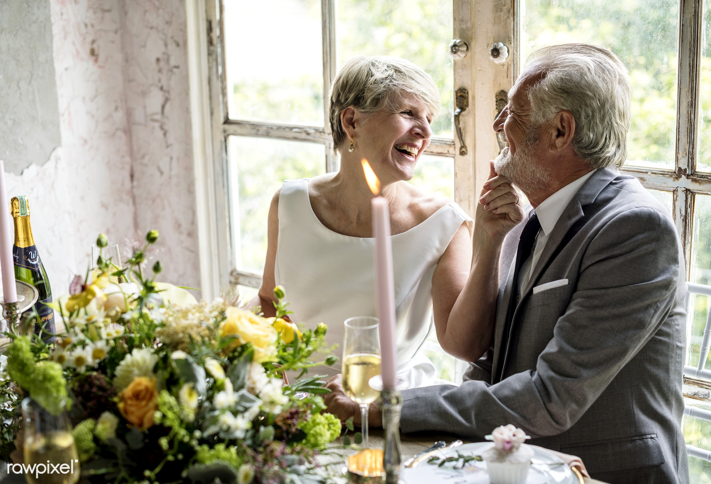 Bridge and groom wedding day - bride, candle, celebration, chin, couple, elderly, even, funny, groom, laughing, love,...