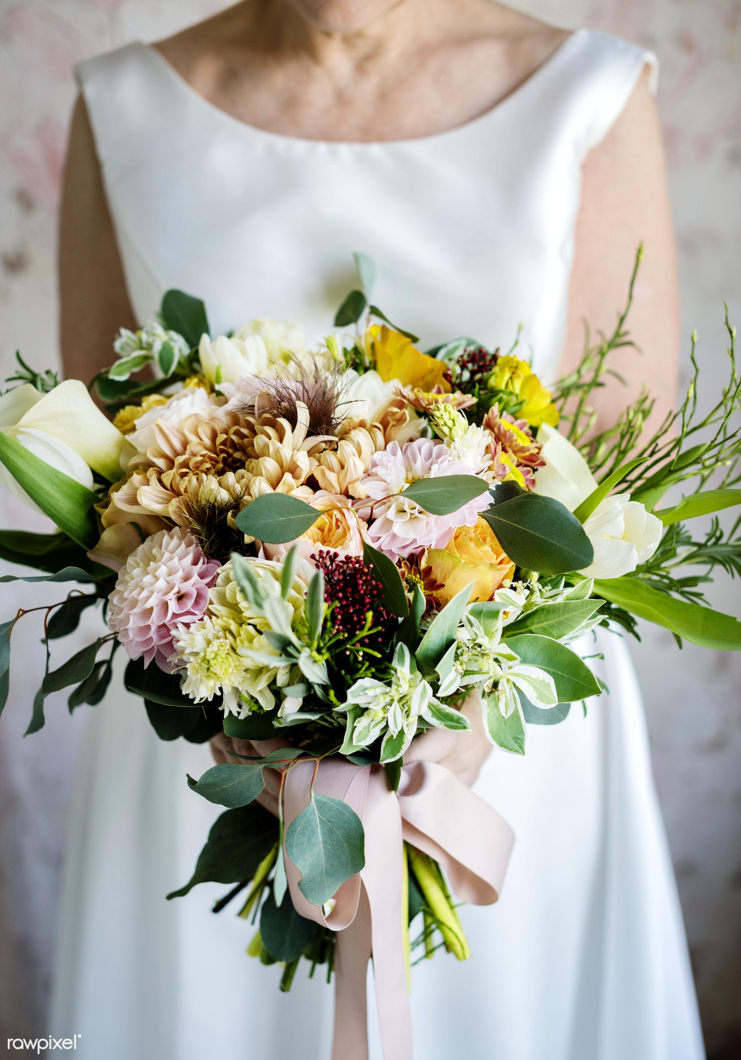 bouquet, holding, diverse, white dress, tulips, caucasian, real, nature, skimmia rubella, fresh, hands, woman, event, bride...