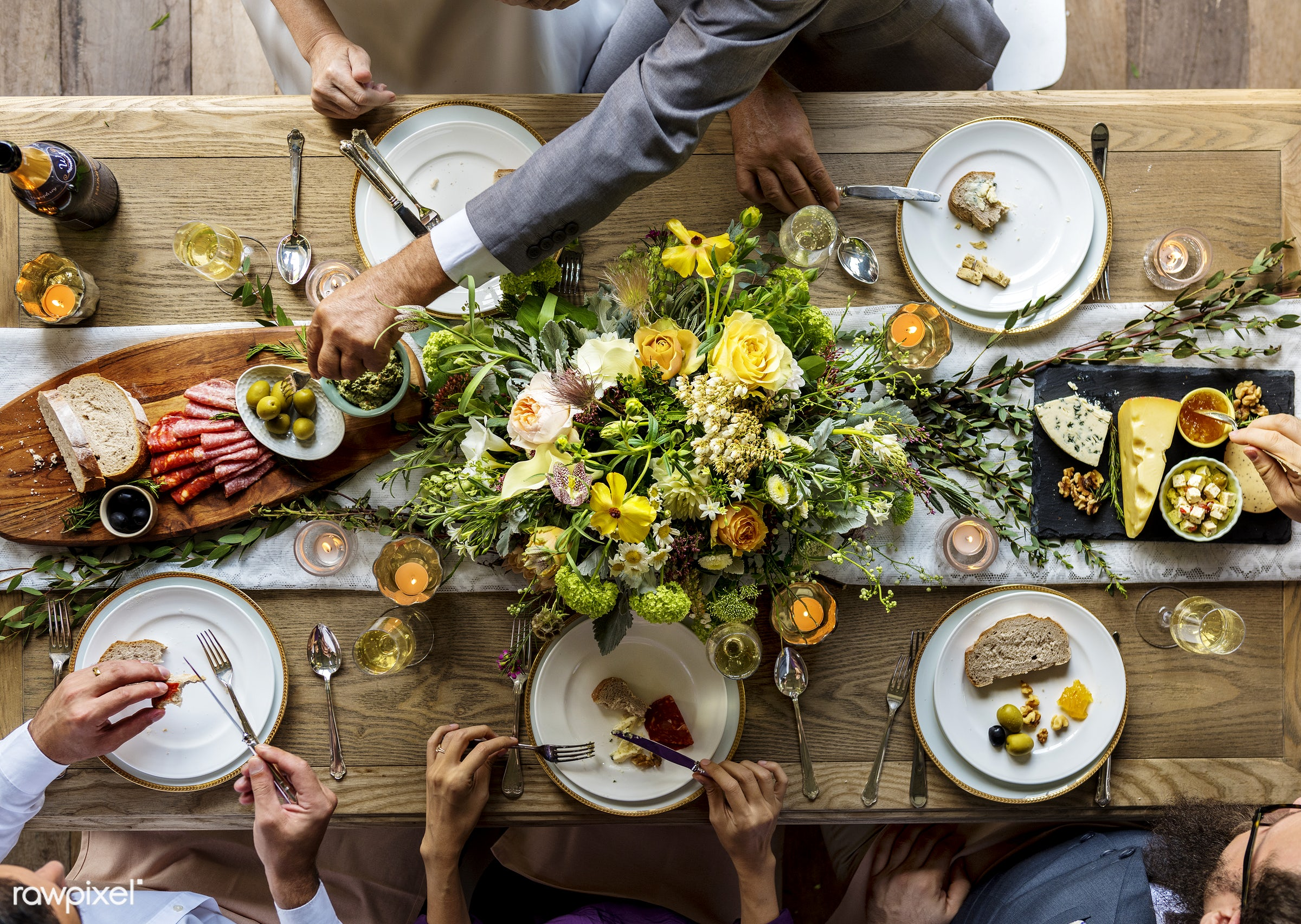 top view, flatlay, guests, occasion, people, together, table cloth, friends, hands, event, gather, aerial view, flowers,...