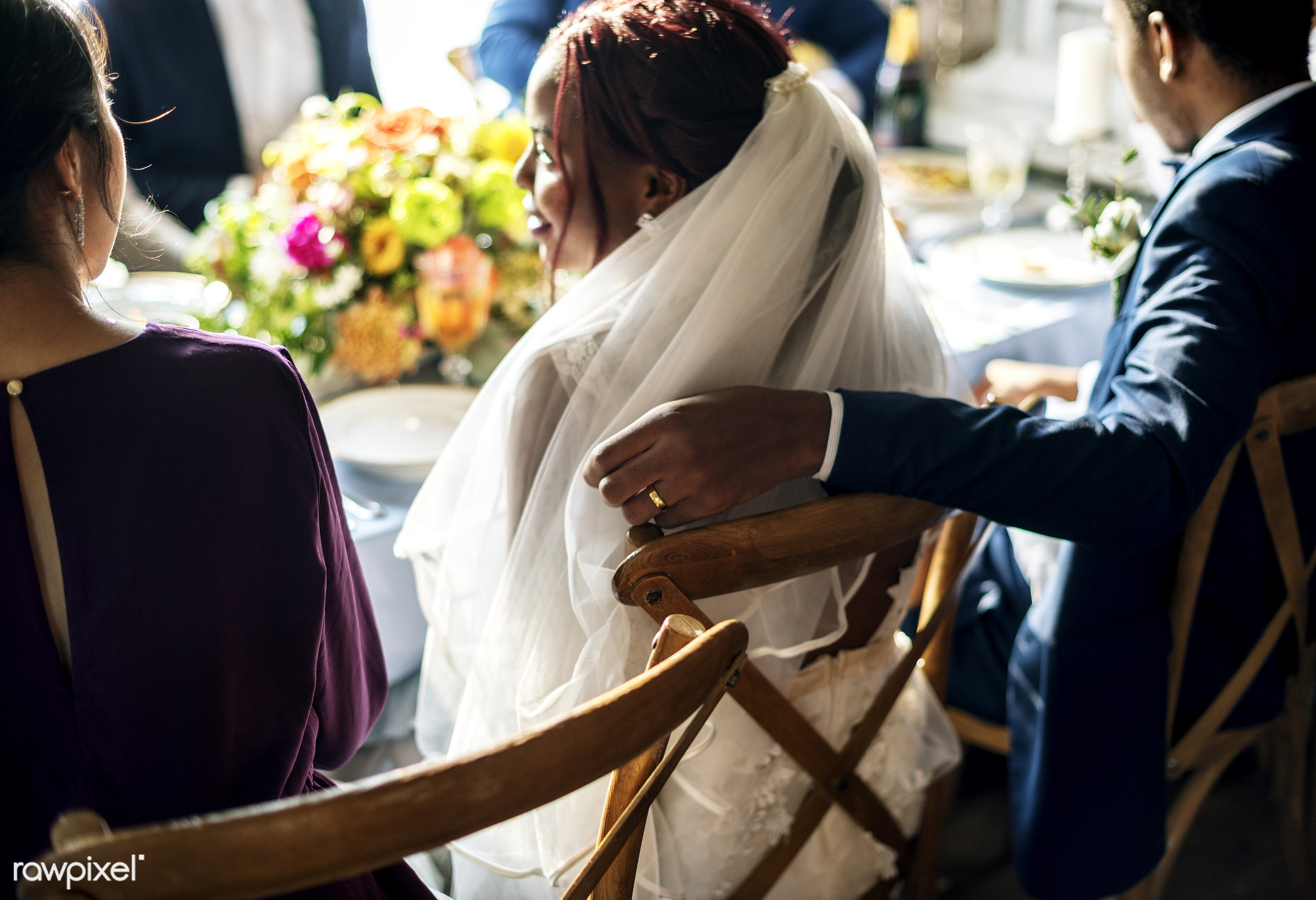 wedding, african descent, black, bridal, bride, celebrate, celebration, chairs, cheerful, enjoyment, event, fiance, friends...