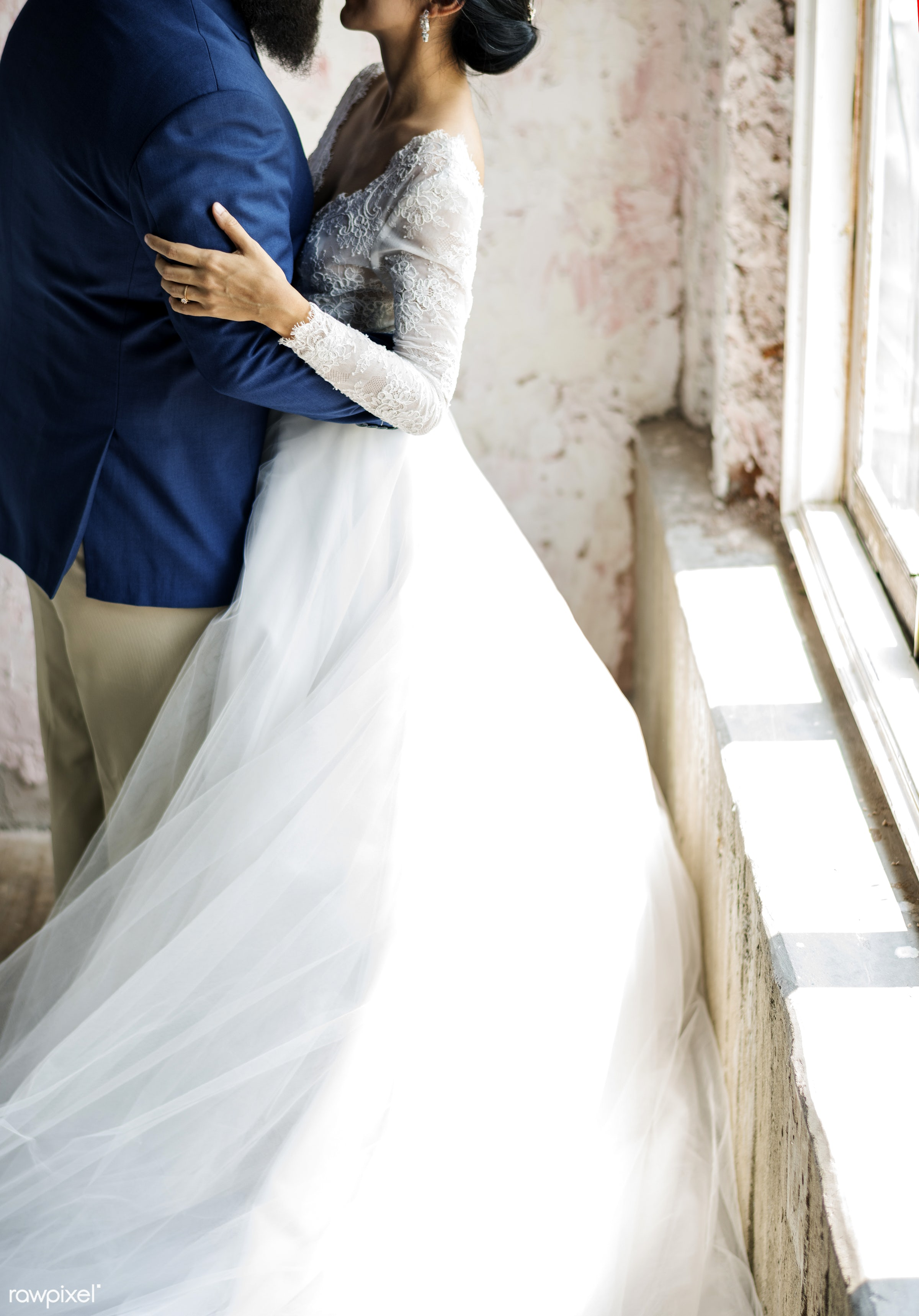 asian bride, caucasian groom, couple, holding, hug, lace, love, marriage, married, navy blue tuxedo, newlywed, occasion,...