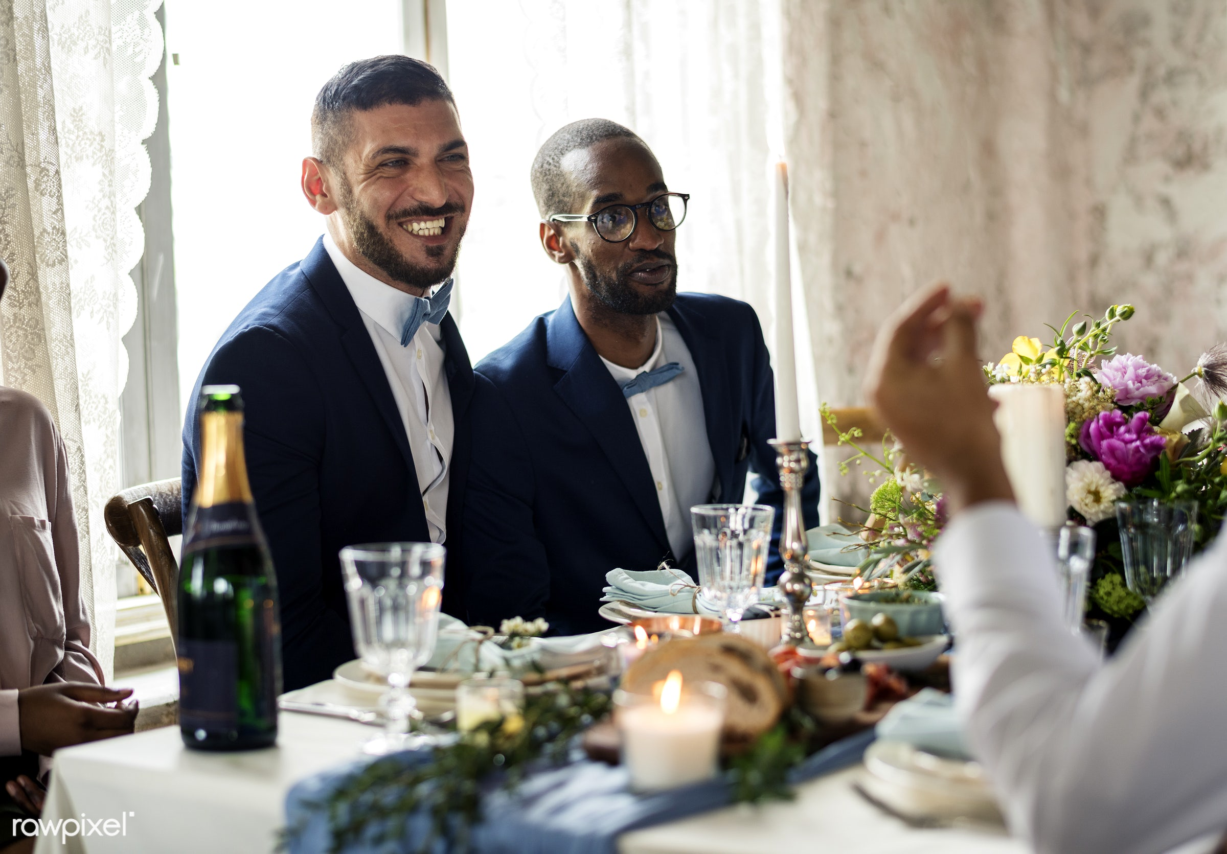 occasion, restaurant, caucasian, love, married, banquet, couple, men, cheerful, smiling, black, meal, diversity, african...