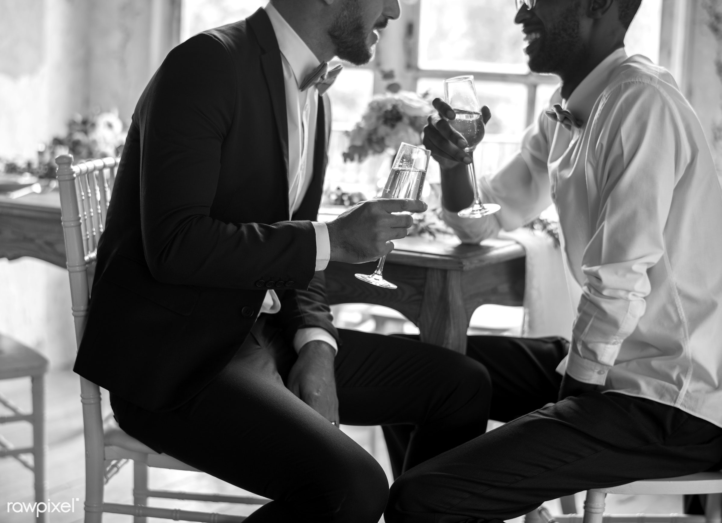 person, holding, occasion, together, love, friends, married, congrats, hands, drink, glass, suits, couple, men, cheerful,...
