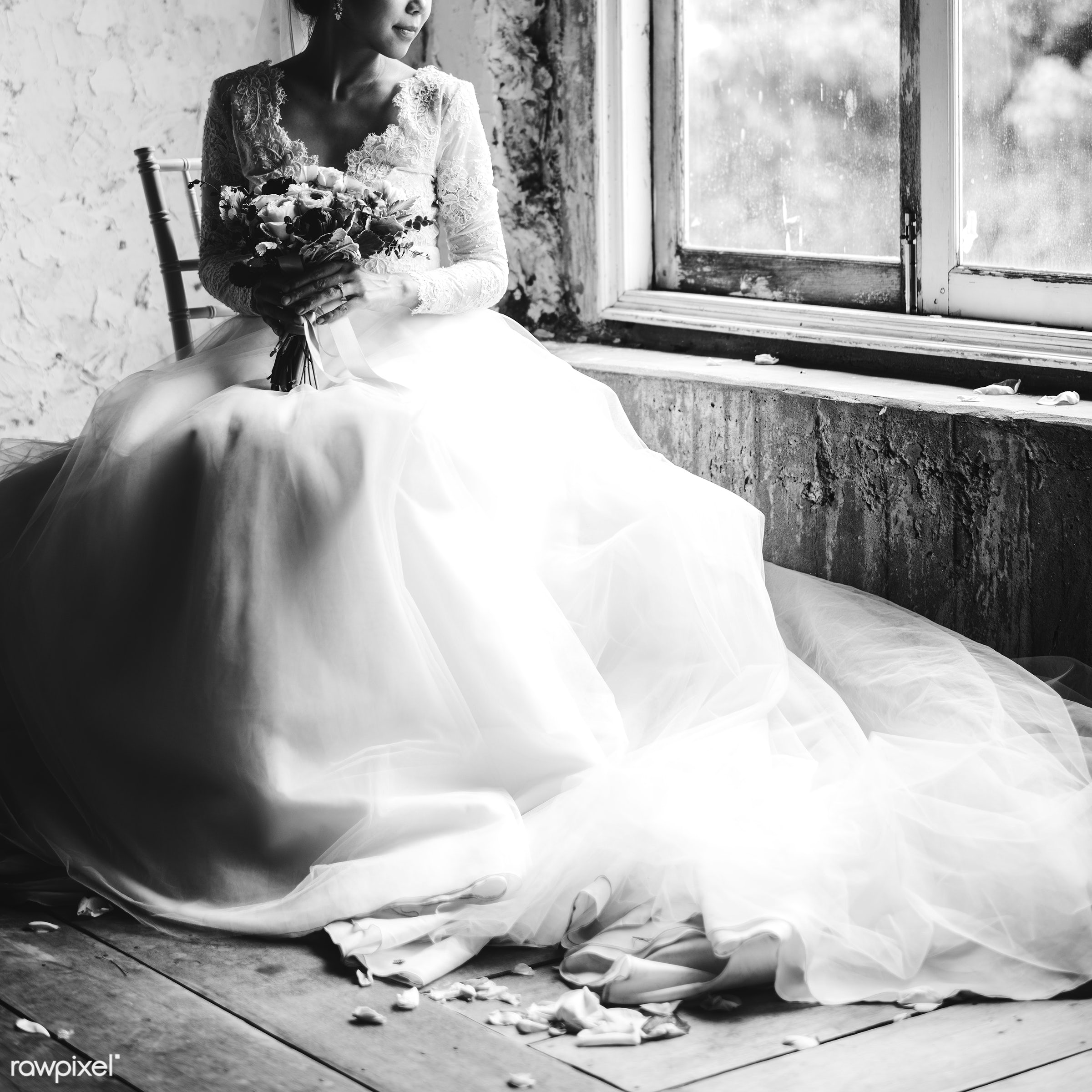 Bride in her gown with a bouquet of flowers sitting by the window - woman, girl, asian, sitting, portrait, candid, bouquet,...
