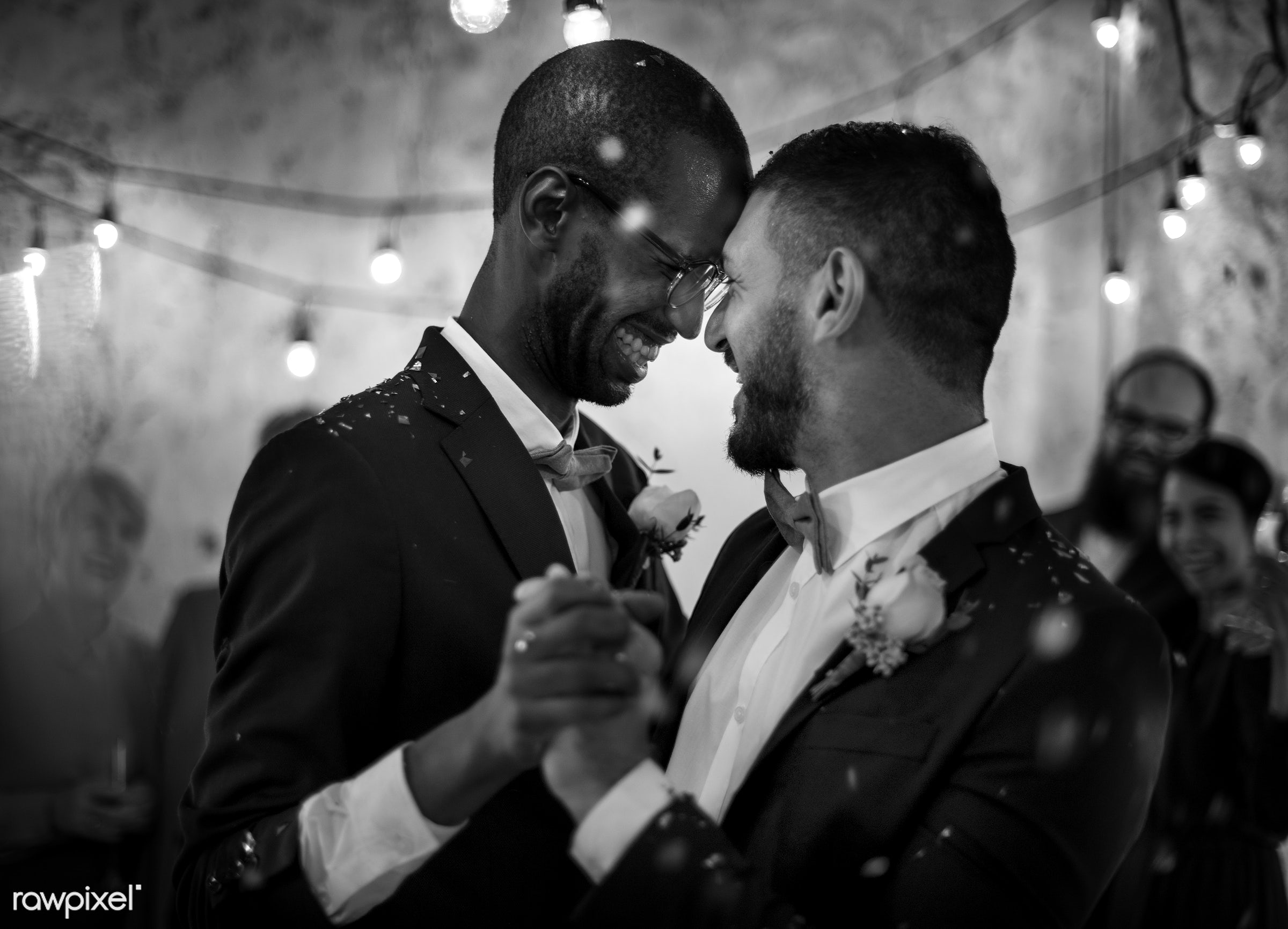 Gay couple dancing on wedding day - wedding, affection, black, celebration, cheerful, couple, dance, dancing, diverse,...