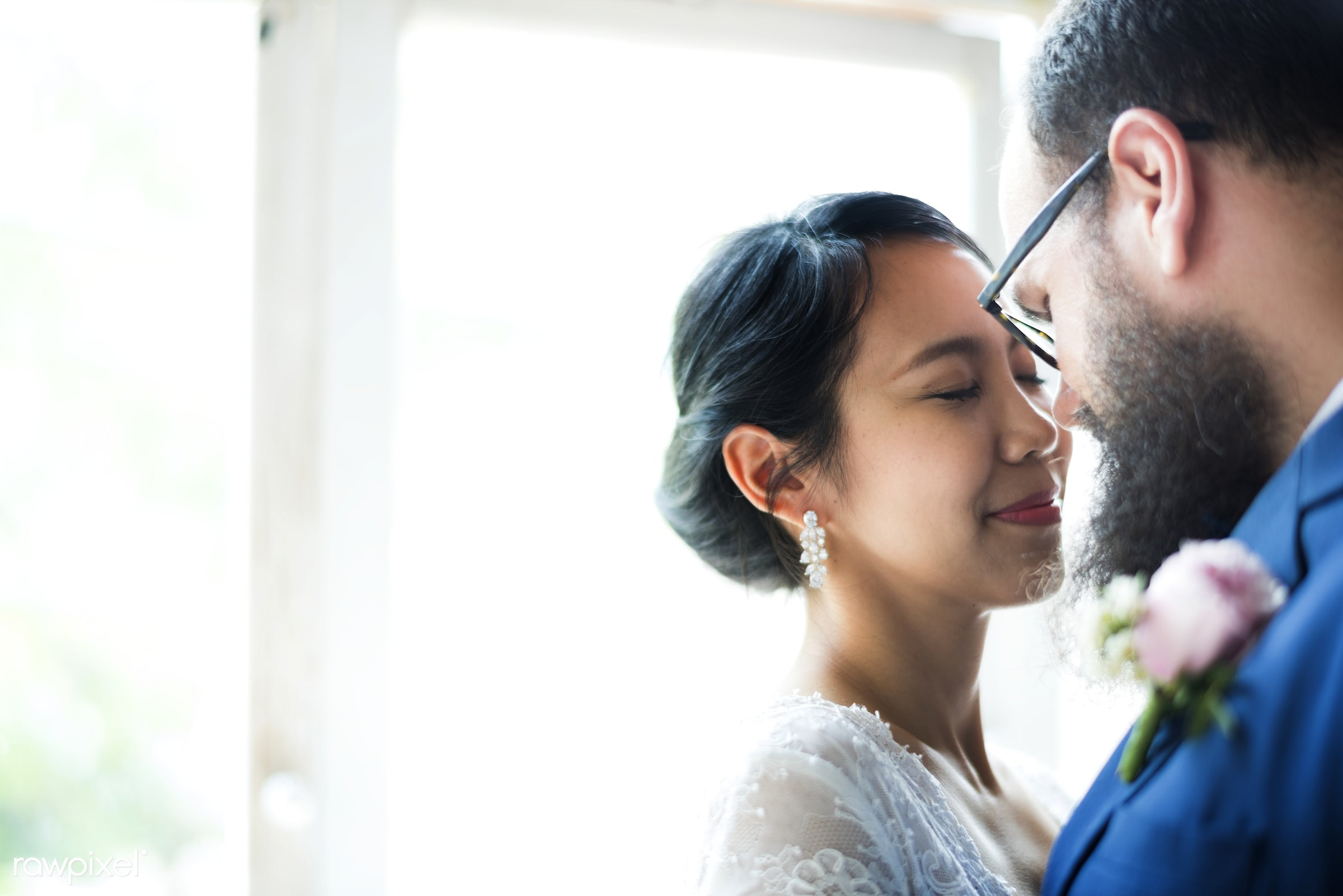 occasion, together, asian, caucasian, love, married, hands, couple, bride, cheerful, smiling, closeup, diversity, newlywed,...