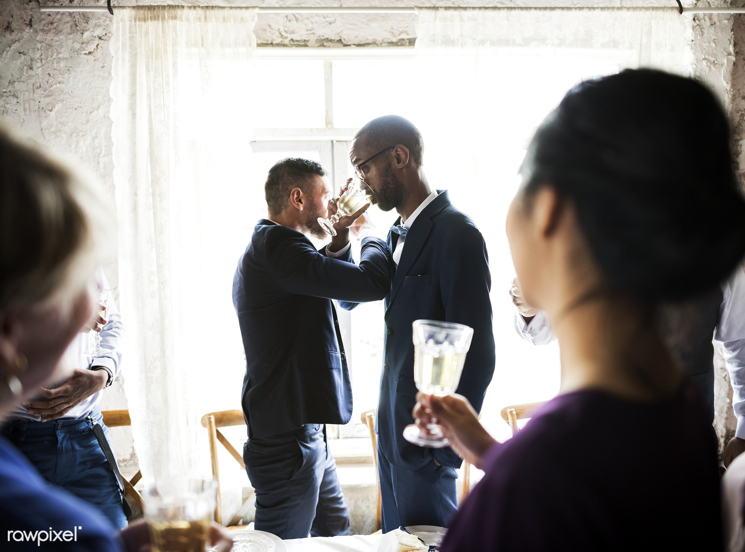 person, glasses, drinking, holding, occasion, together, love, friends, married, congrats, hands, suits, couple, men,...