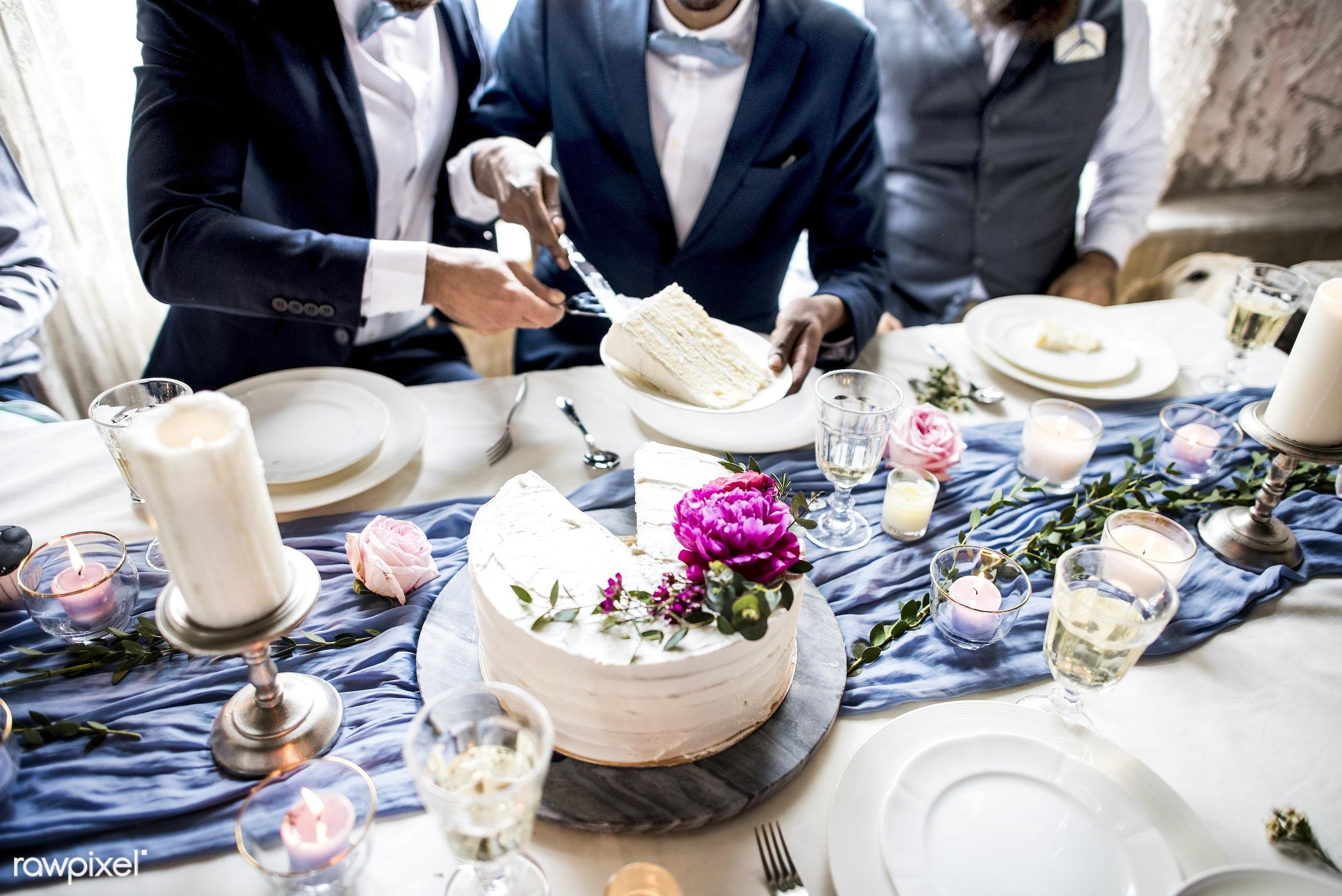 cake, celebrate, celebration, ceremony, closeup, congrats, congratulations, couple, cut, dessert, diversity, elegance, event...
