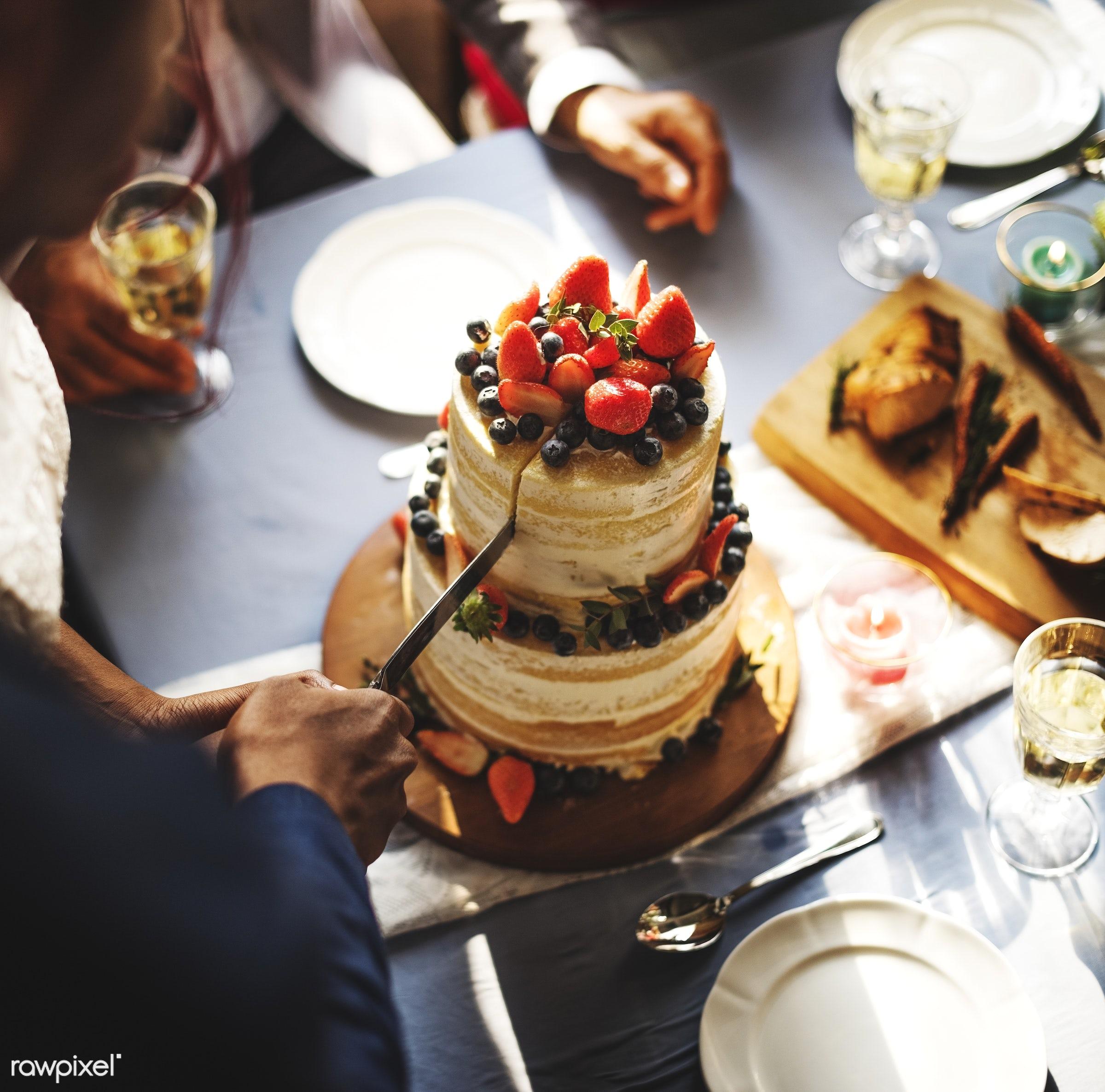 cake, bride, celebrate, celebration, ceremony, closeup, congrats, congratulations, couple, cut, dessert, diversity, elegance...