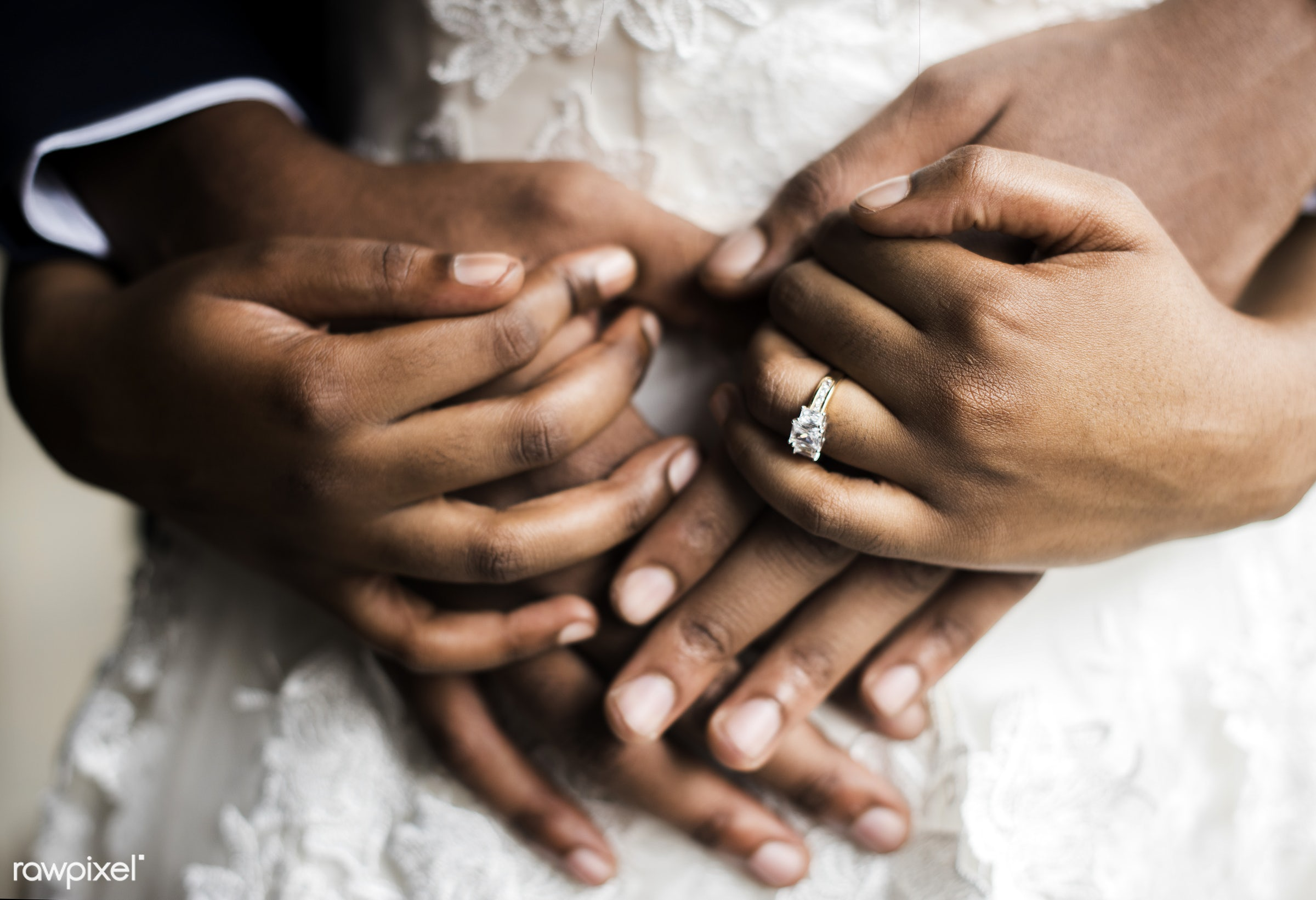 holding, people, together, love, hands, spouse, couple, bride, closeup, ring, african descent, newlywed, romantic, fiance,...