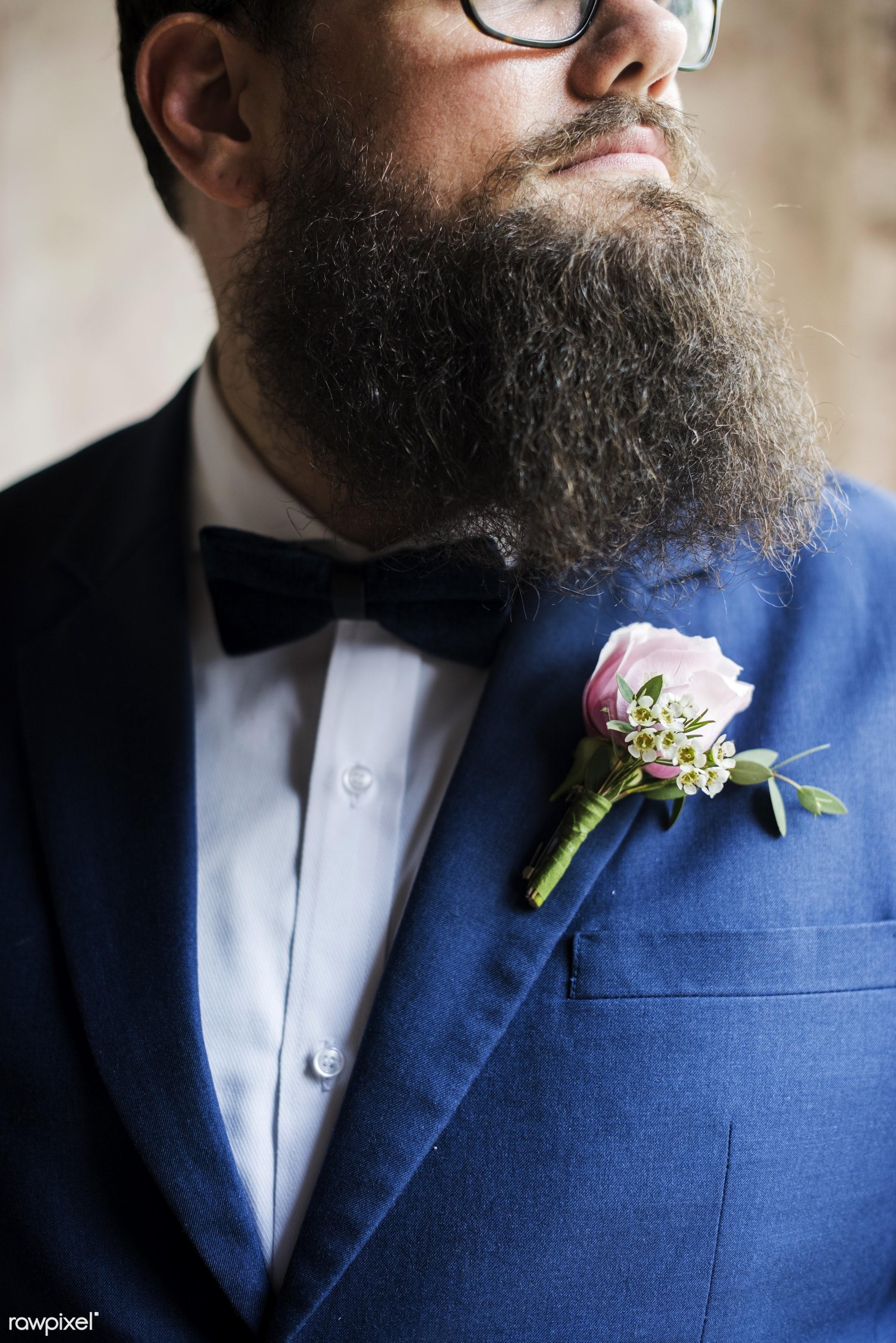 bouquet, person, husband, navy blue suit, married, tuxedo, event, couple, cheerful, lapel, closeup, flower, man, preparation...