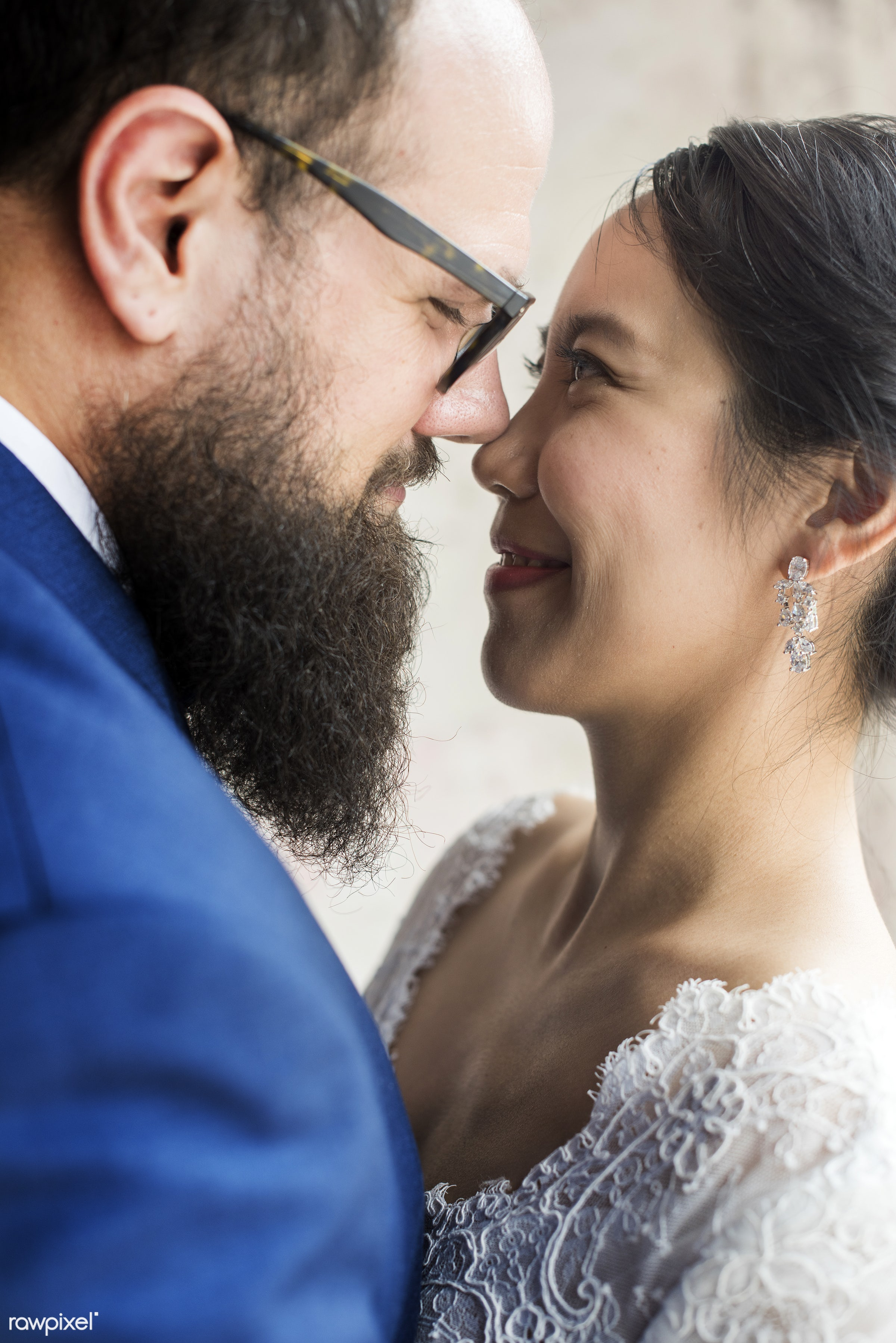 occasion, together, caucasian, asian, love, married, hands, couple, bride, cheerful, smiling, closeup, flower, diversity,...