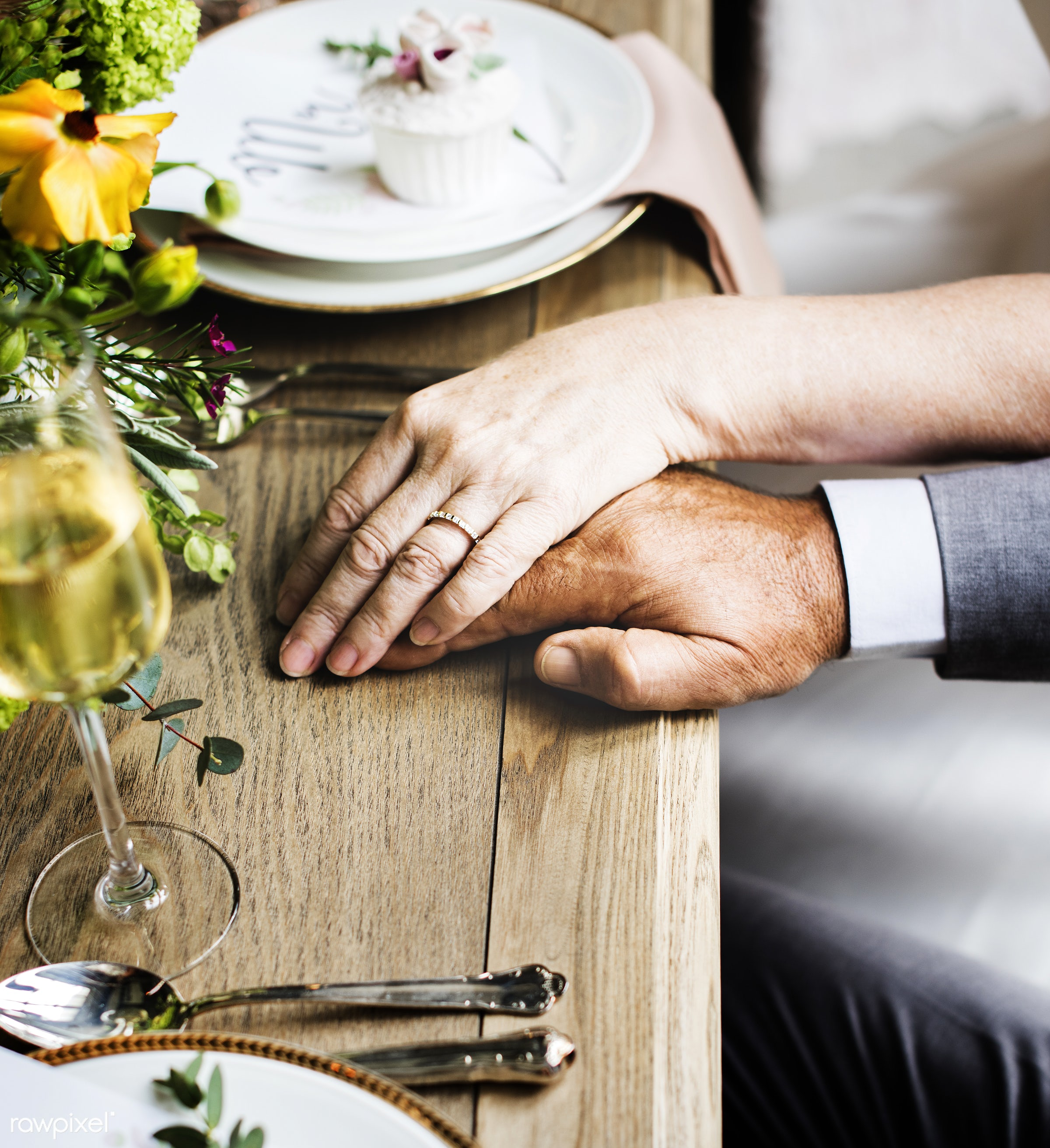 diverse, hands together, party, people, together, love, married, hands, banquet, couple, bride, closeup, ring, anniversary,...