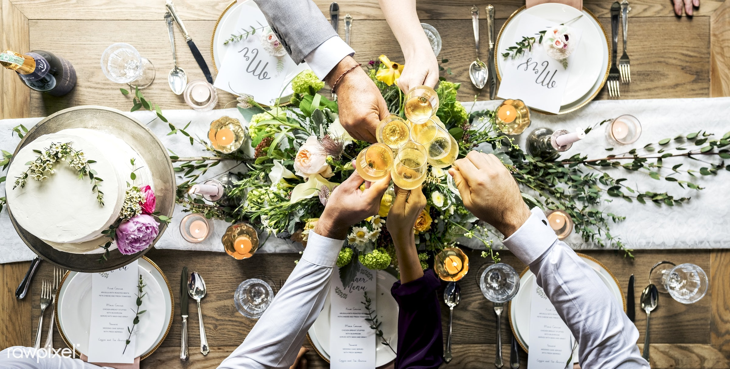 aerial view, banquet, beverage, bride, cake, celebrate, celebration, ceremony, champagne, cheerful, cheers, clink, congrats...