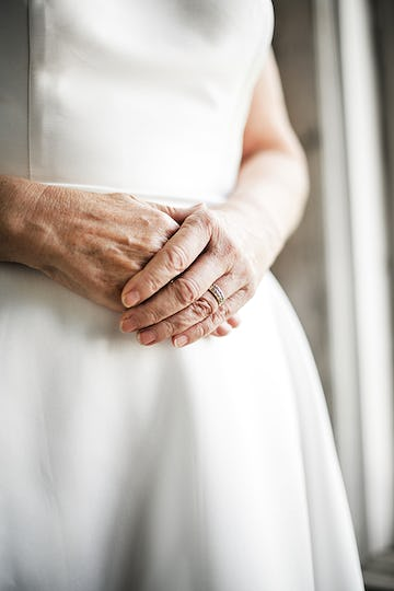 Closeup woman hands with wedding ring