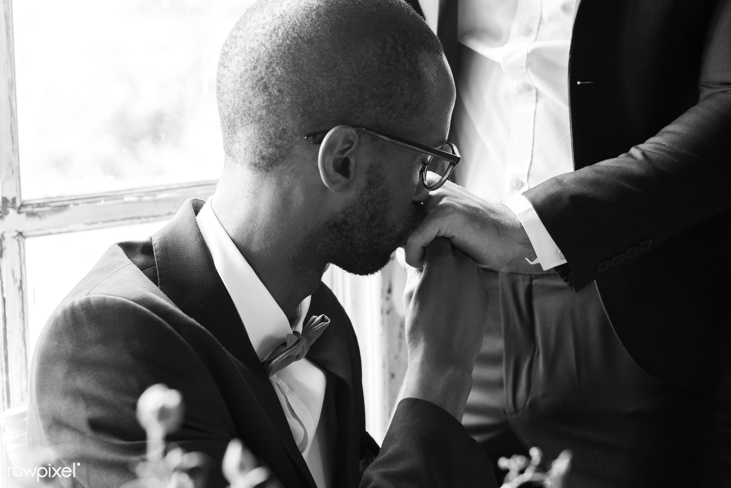 occasion, together, caucasian, love, banquet, men, african descent, gay couple, kissing hands, ceremony, lgbt, two, wedding...