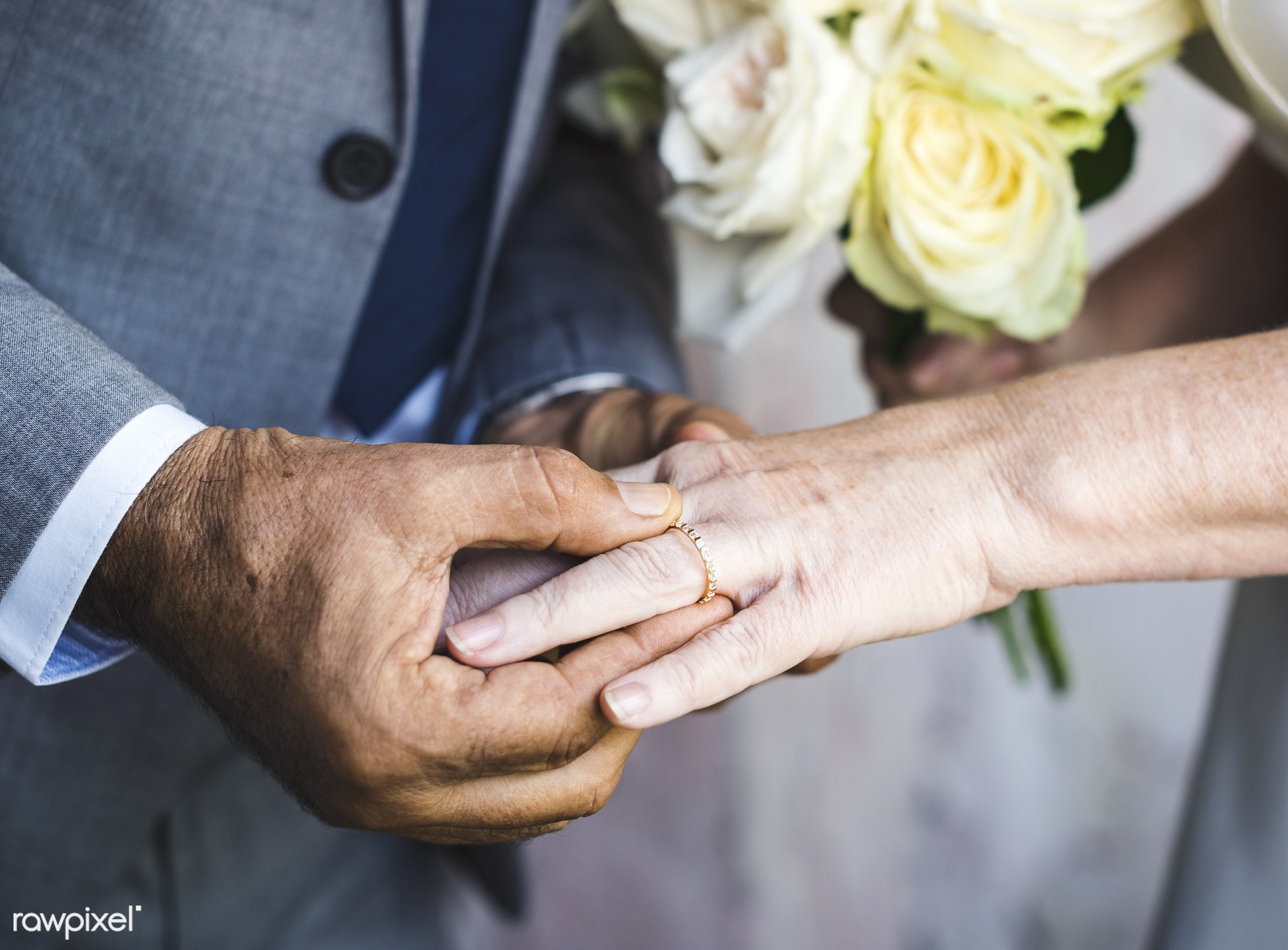 bride, celebration, ceremony, closeup, couple, engagement, groom, hands, holding, love, marriage, married, newlywed, people...