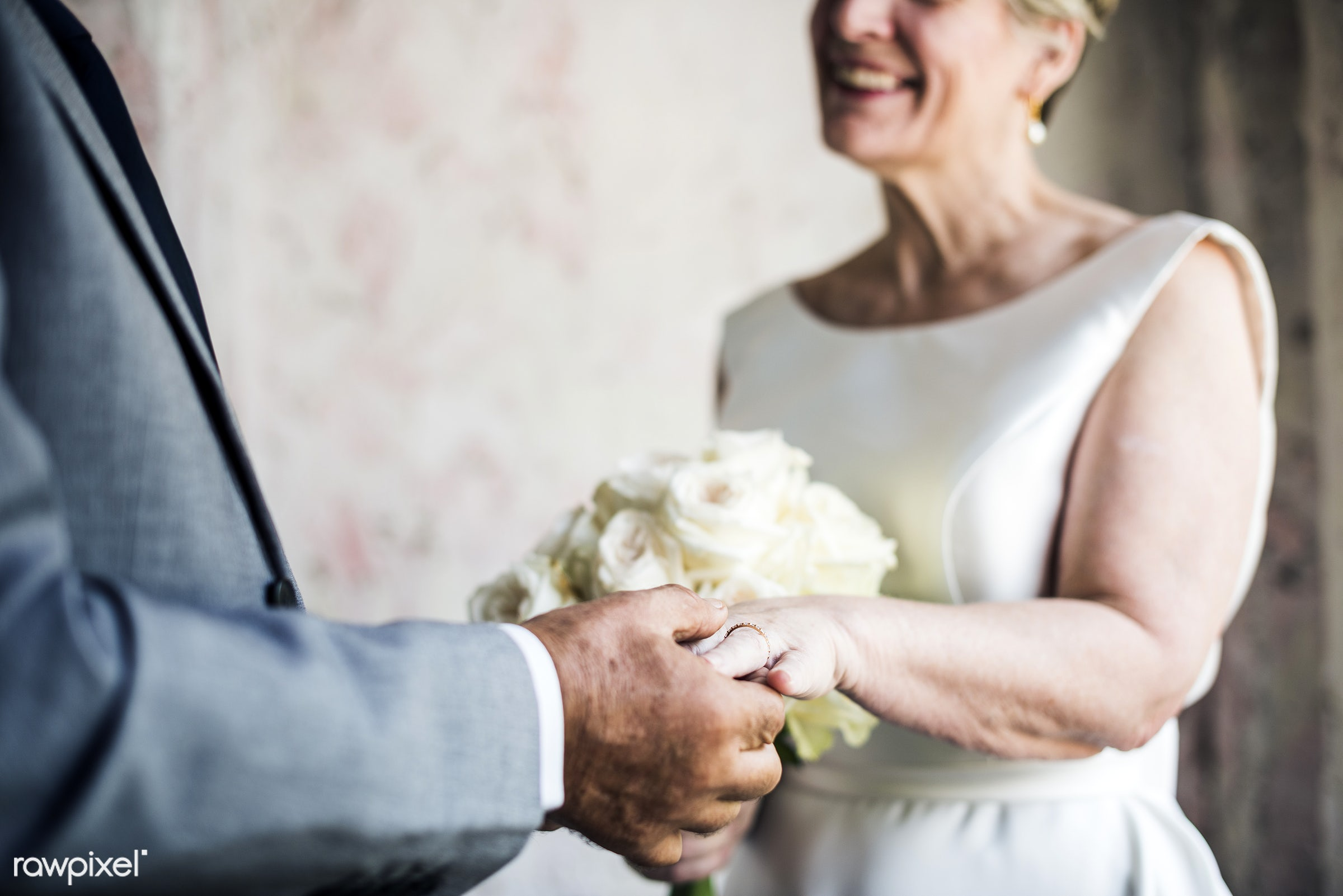 bouquet, occasion, together, caucasian, love, married, couple, bride, flowers, cheerful, smiling, senior couple,...