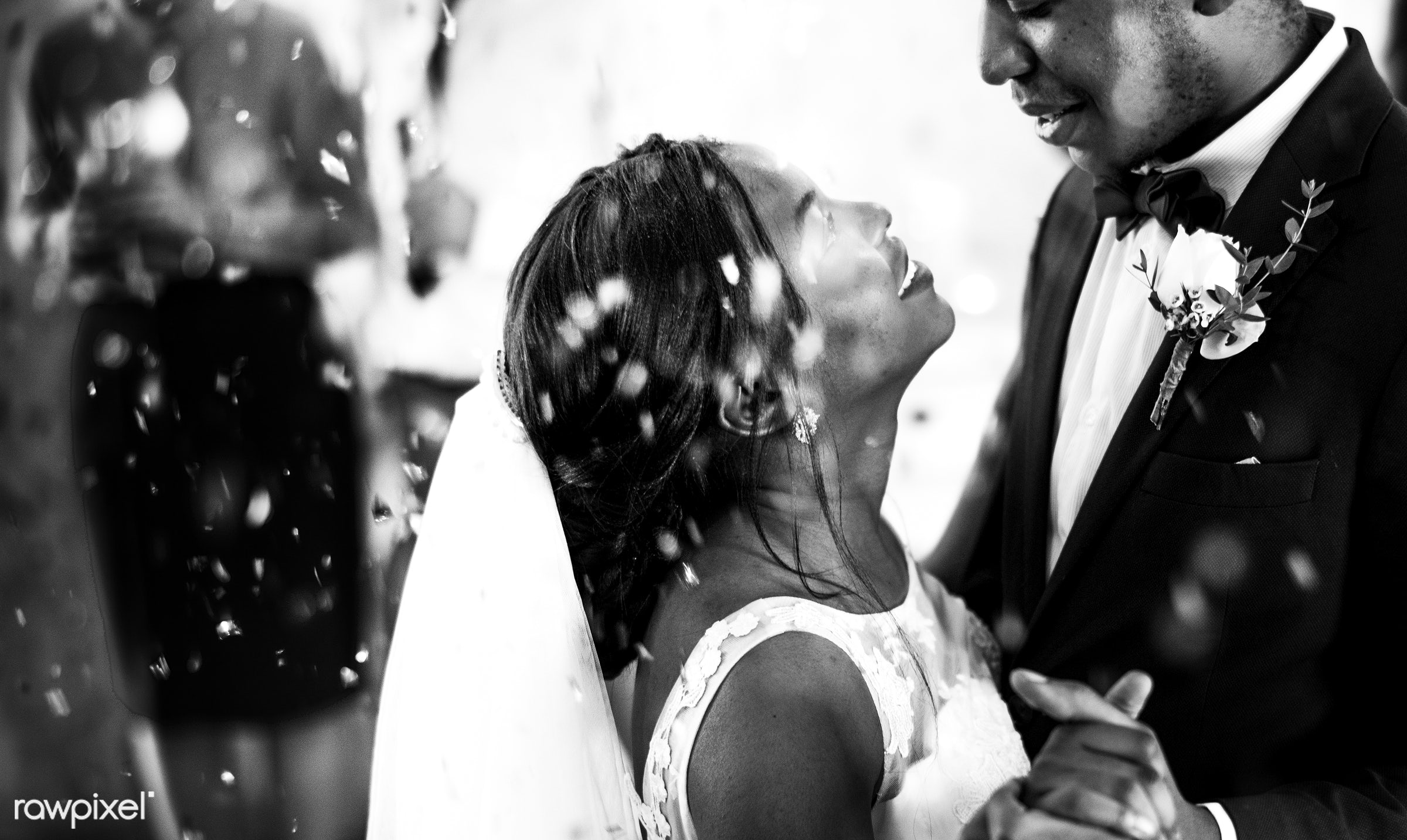 holding, occasion, people, love, married, gala, hands, spouse, banquet, bride, cheerful, black, closeup, confetti, african...
