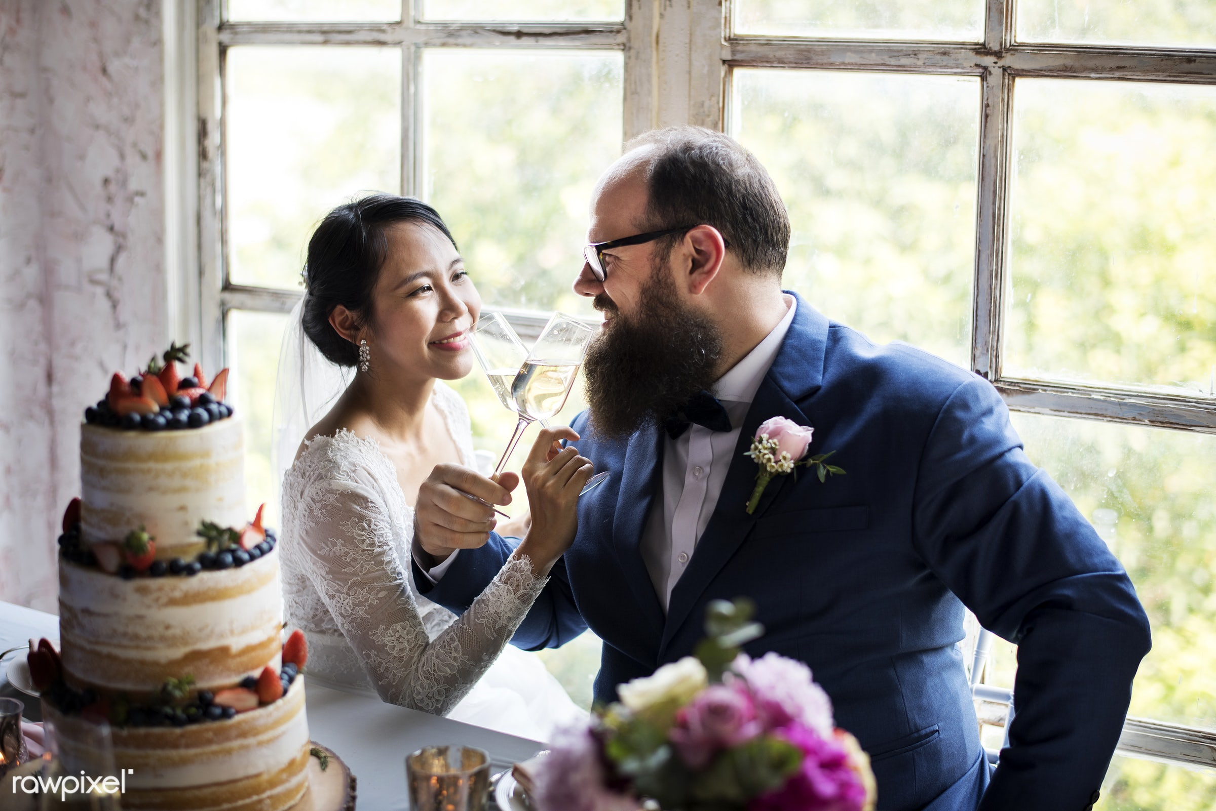 glasses, holding, occasion, drinks, together, asian, caucasian, love, married, hands, banquet, couple, bride, cheerful,...