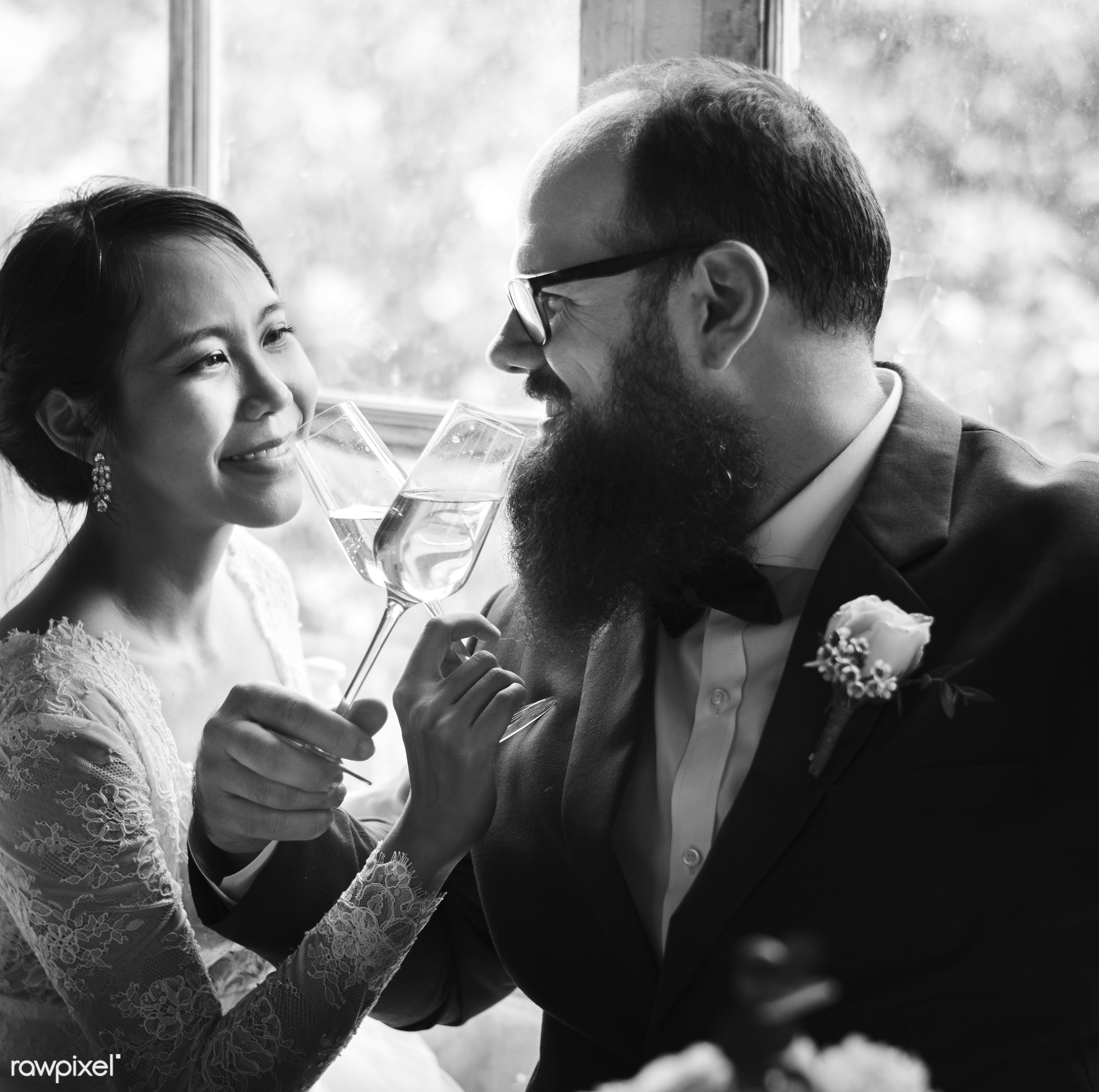 glasses, drinking, occasion, winde, together, caucasian, asian, love, married, hands, couple, bride, cheerful, smiling,...
