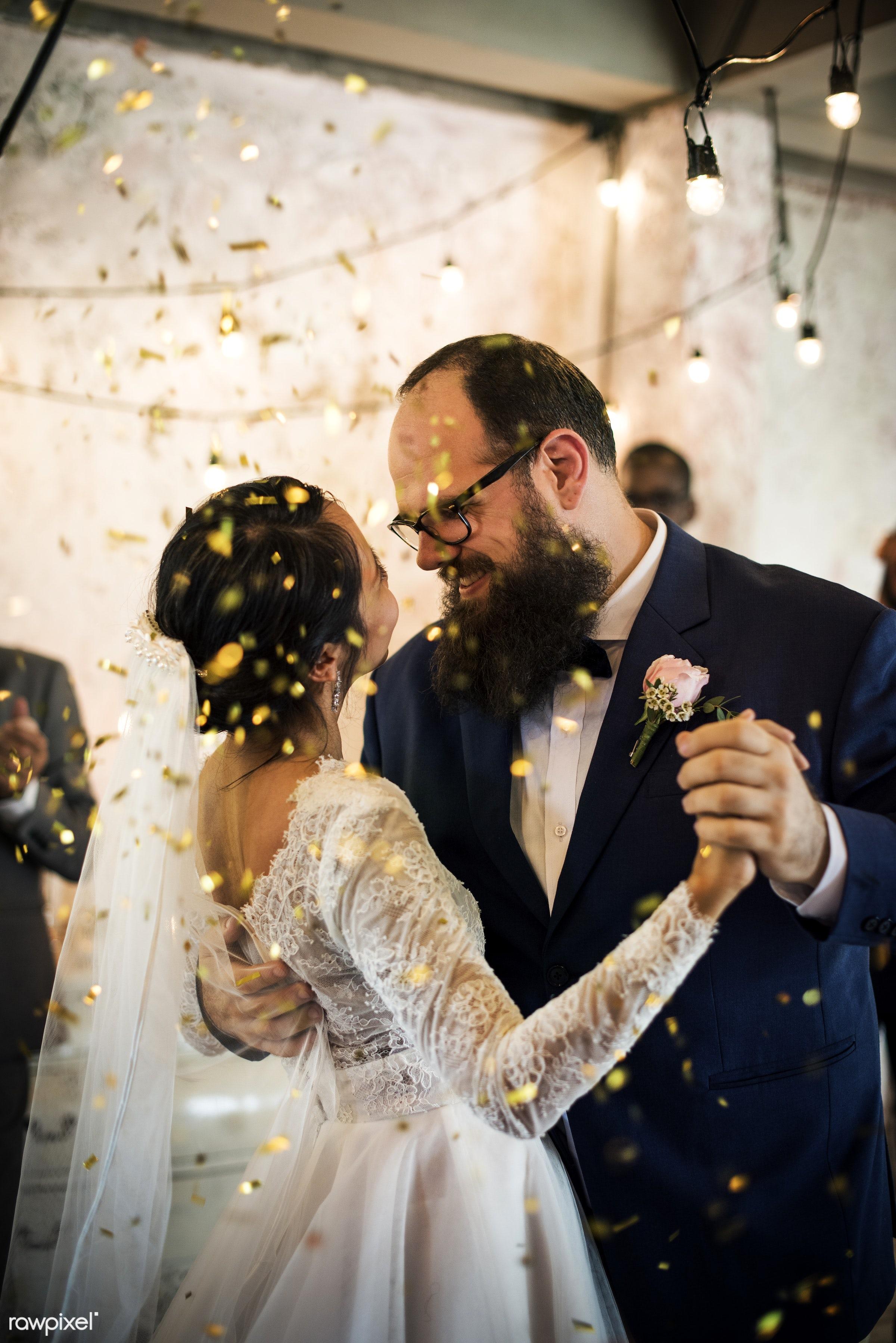 wedding, asian bride, banquet, caucasian groom, celebration, ceremony, cheerful, closeup, confetti, dance, fiance, gala,...