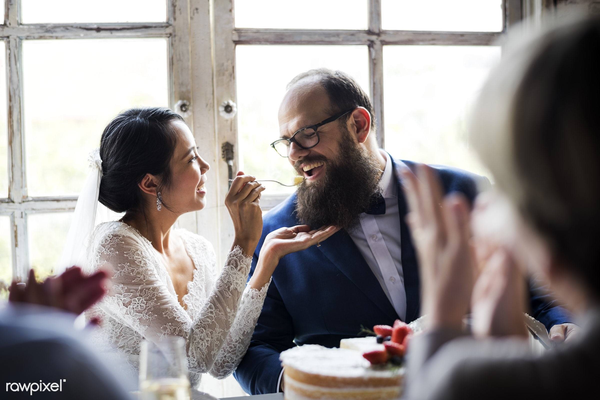holding, occasion, feeding, asian bride, people, together, love, married, friends, hands, spouse, event, gathering, couple,...