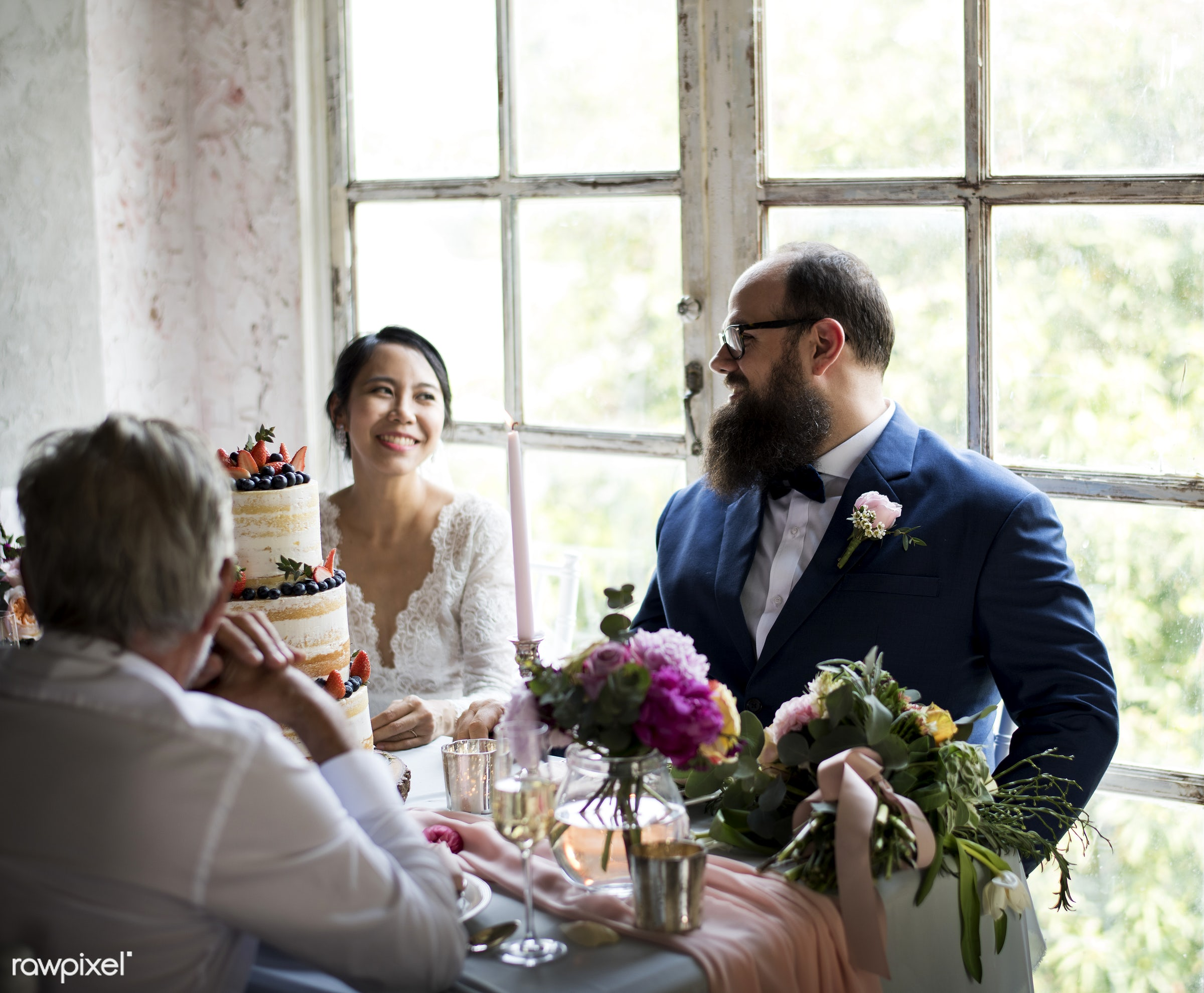 occasion, asian bride, people, together, love, married, friends, spouse, event, gathering, couple, flowers, cheerful, cake,...