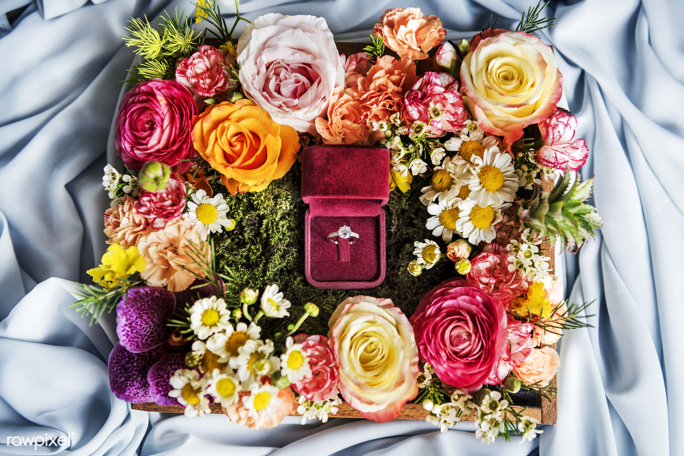 aerial view, arrangement, carnatios, ceremony, daisy, decoration, engagement, flat lay, flowers, jewel, marriage, nobody,...
