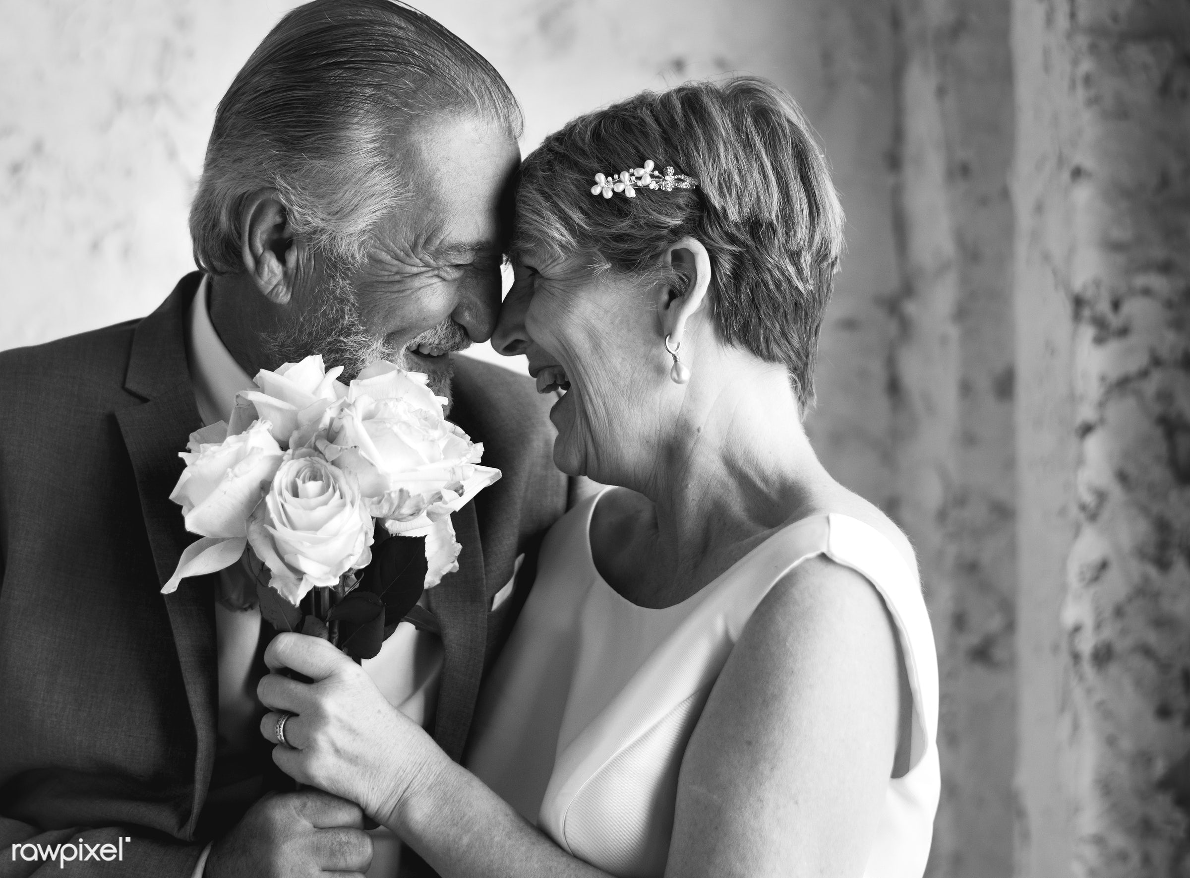 bouquet, occasion, people, together, caucasian, love, married, couple, flowers, cheerful, smiling, senior couple,...