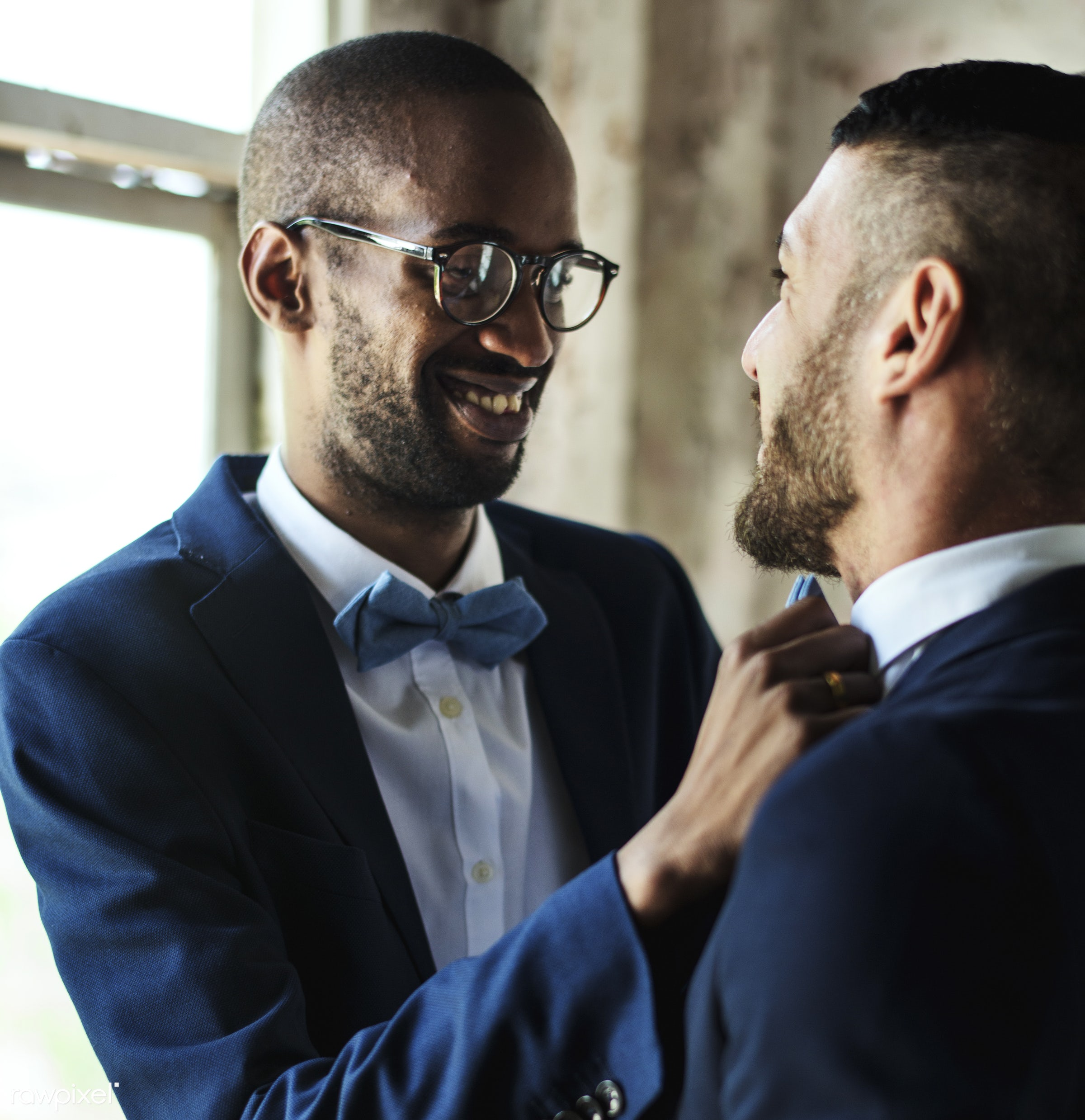 african descent, banquet, bow tie, caucasian, celebration, ceremony, closeup, dress up, dressed, gay couple, helping, lgbt,...