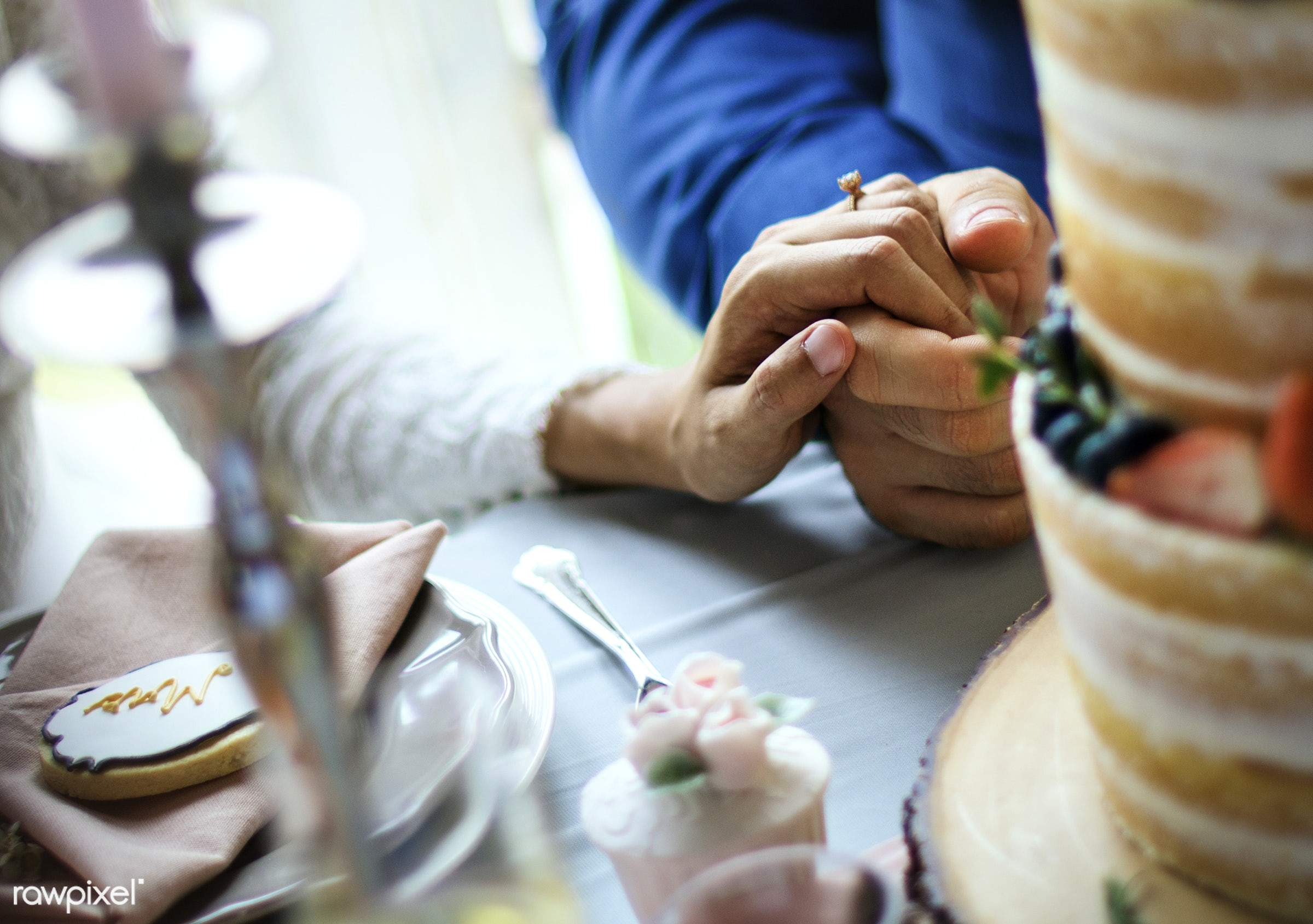 groom, banquet, bride, cake, celebration, ceremony, closeup, couple, engagement, hands, holding, love, marriage, married,...