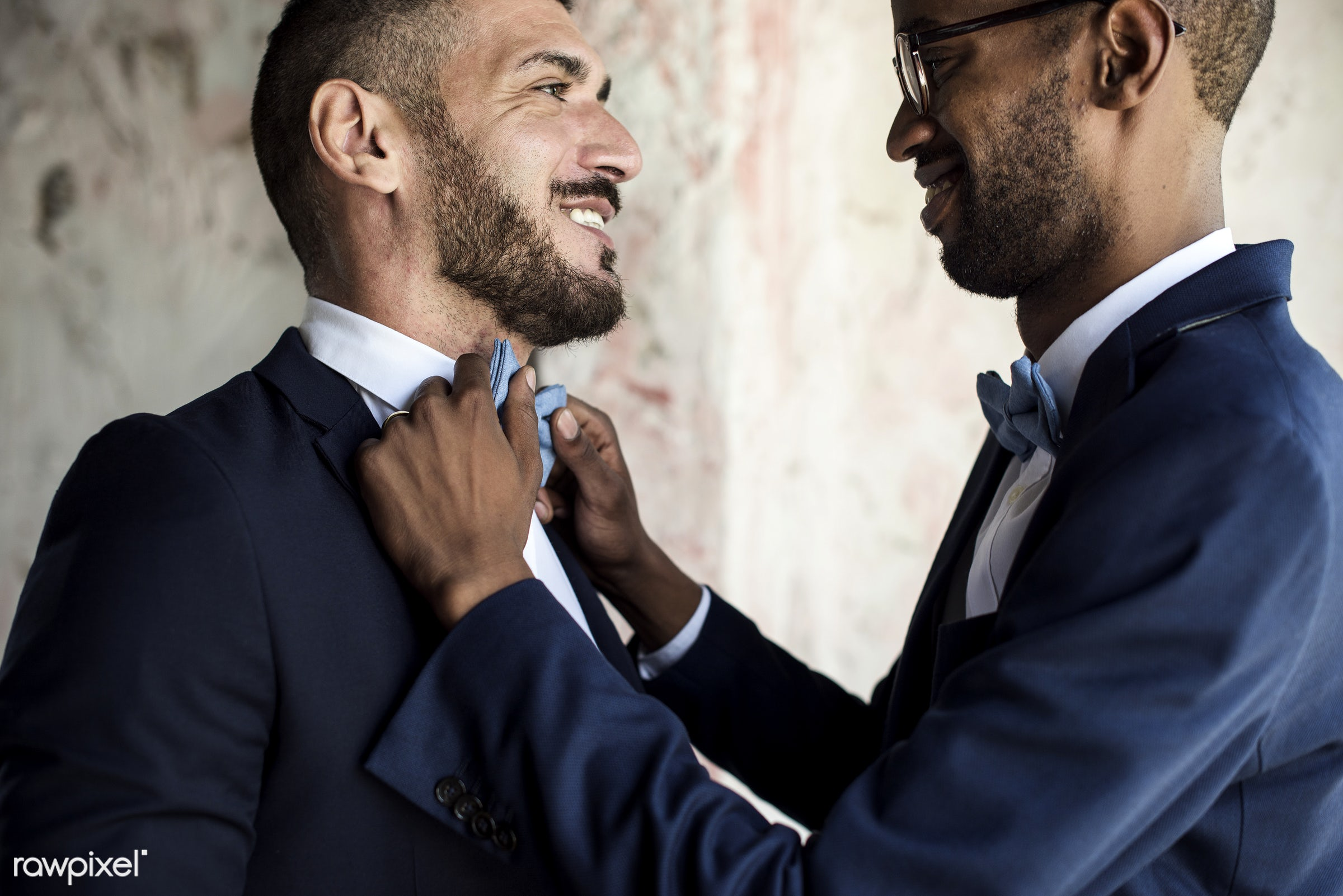 occasion, dress up, together, caucasian, love, banquet, men, closeup, preparation, african descent, gay couple, dressed,...