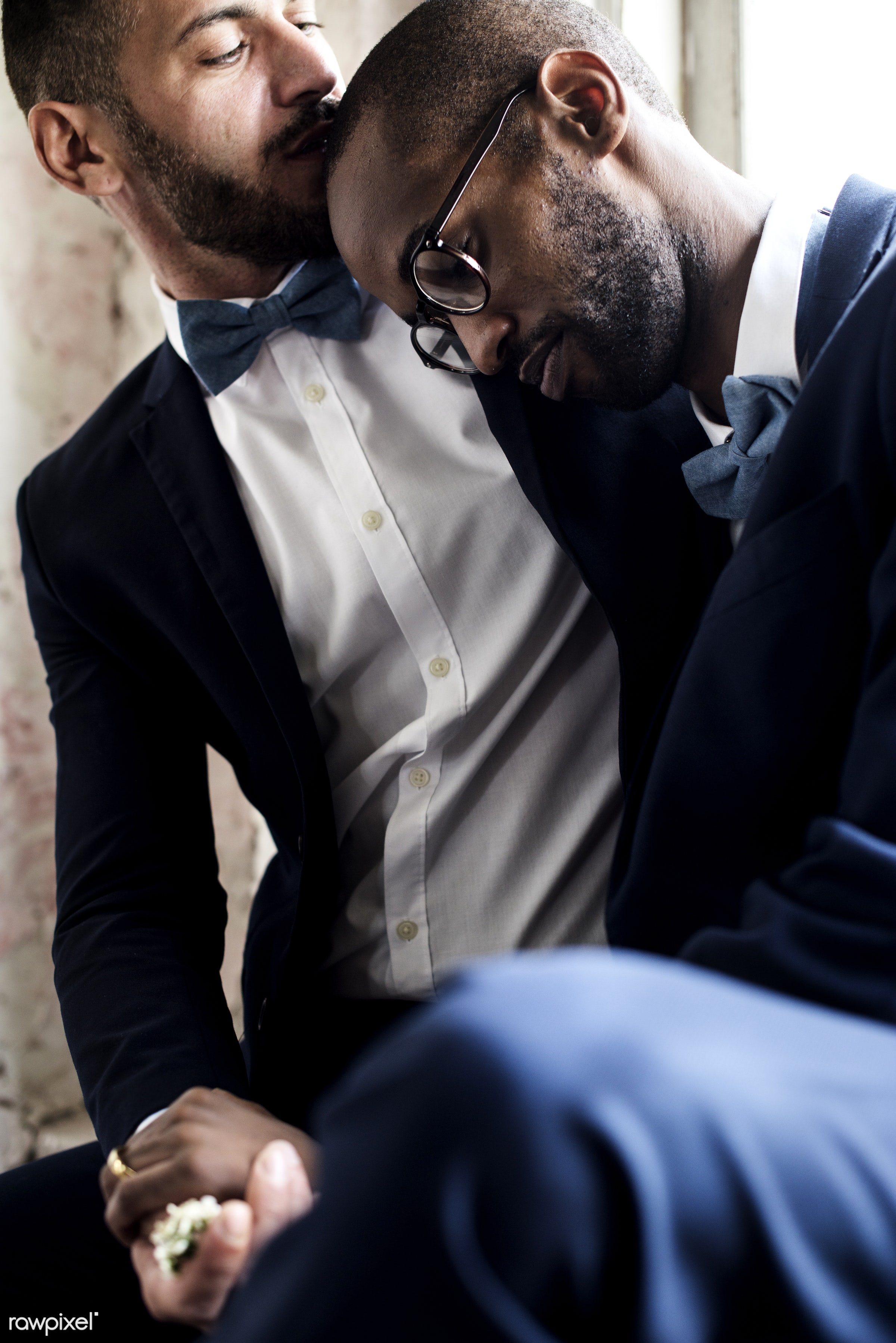 kissing, gay couple, african descent, occasion, ceremony, together, lgbt, caucasian, love, two, wedding, banquet, men,...